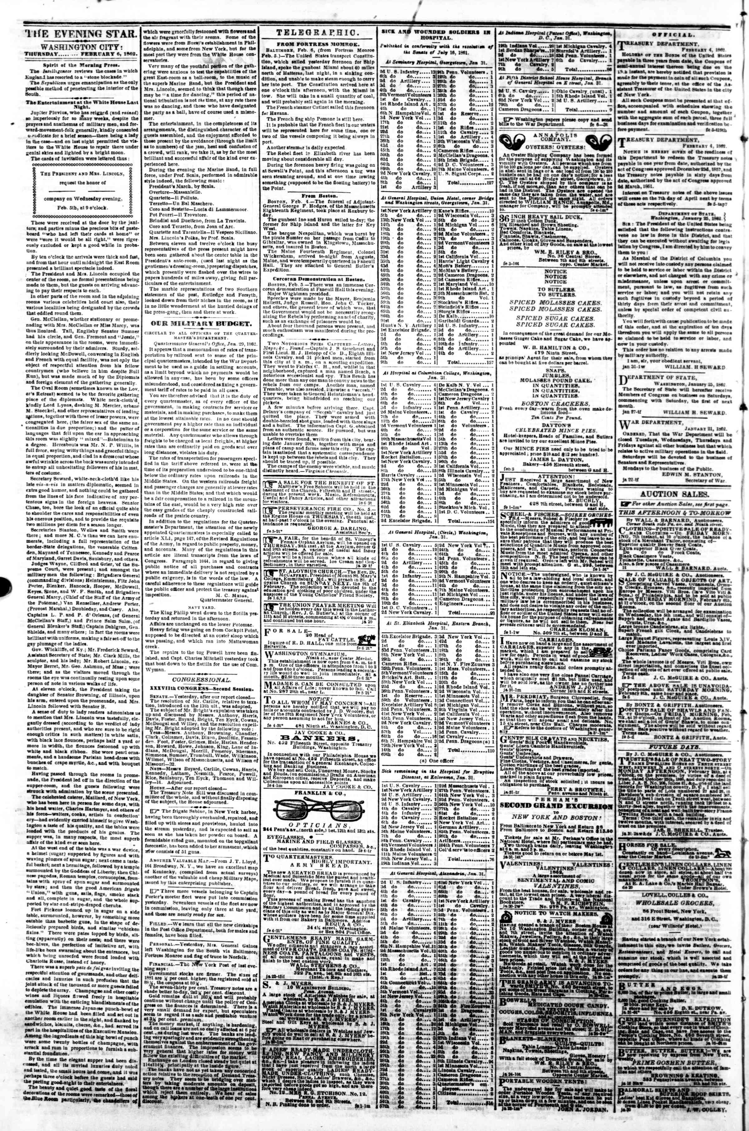 Newspaper of Evening Star dated February 6, 1862 Page 2