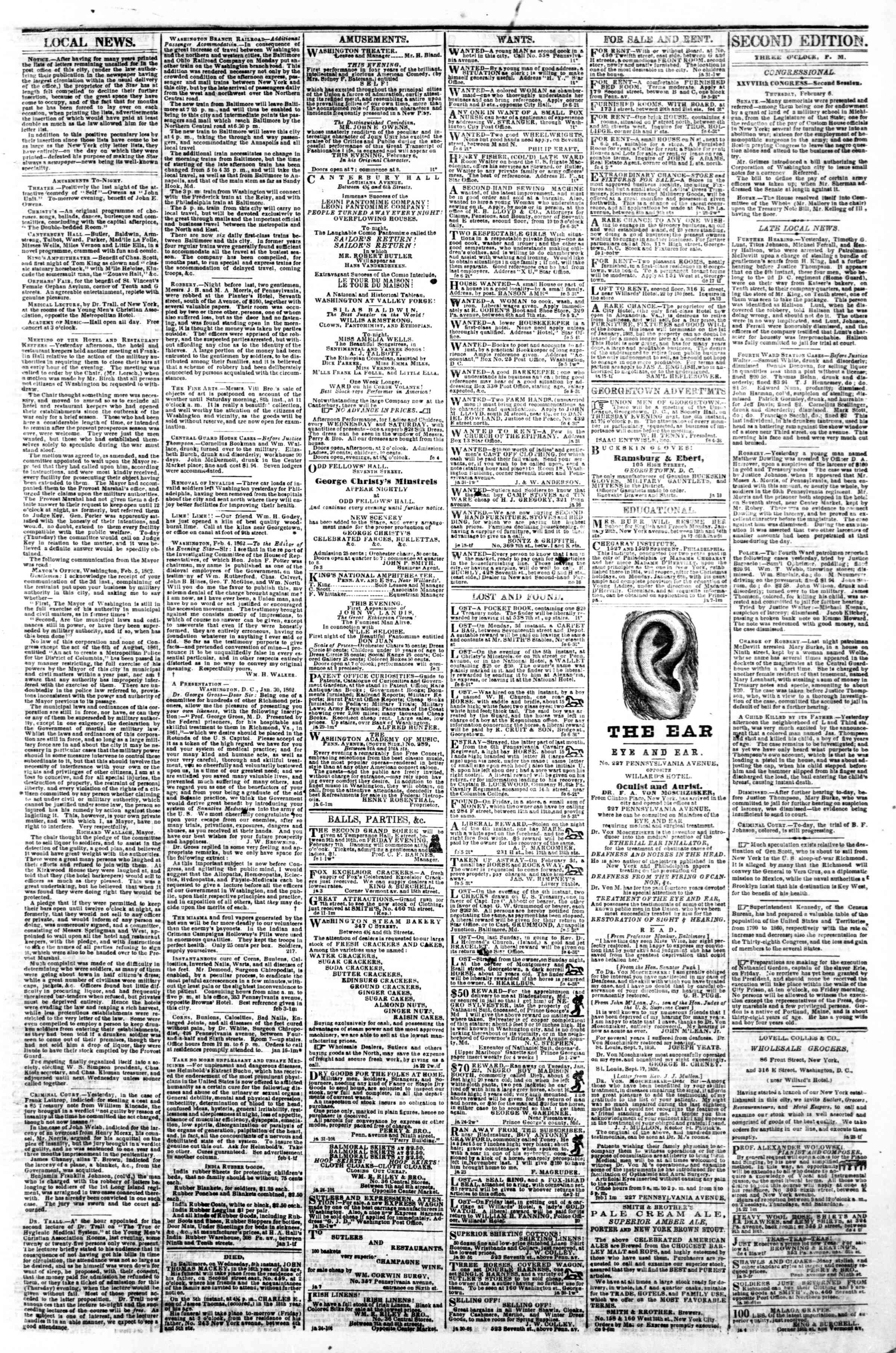 Newspaper of Evening Star dated February 6, 1862 Page 3