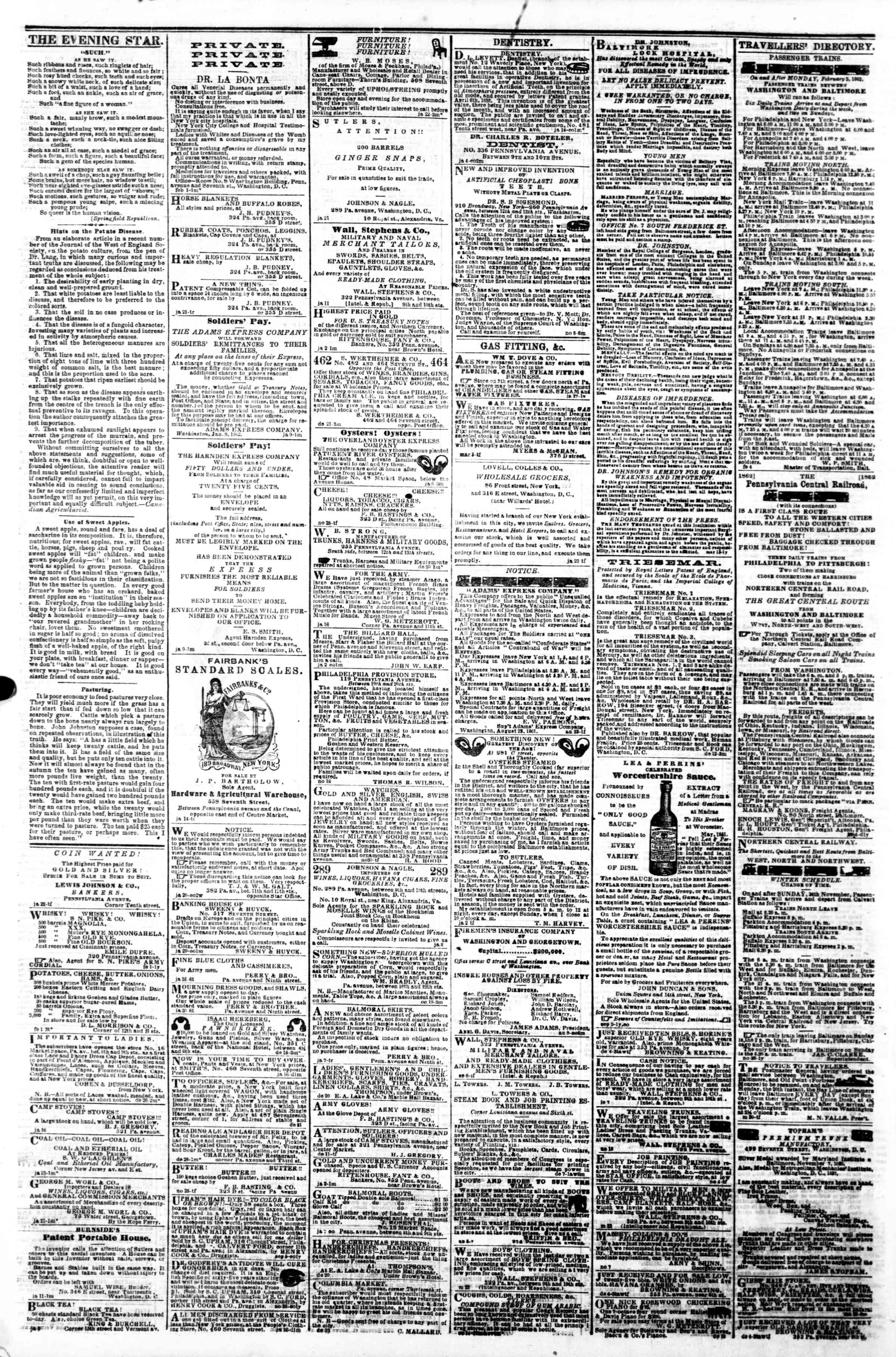 Newspaper of Evening Star dated February 6, 1862 Page 4