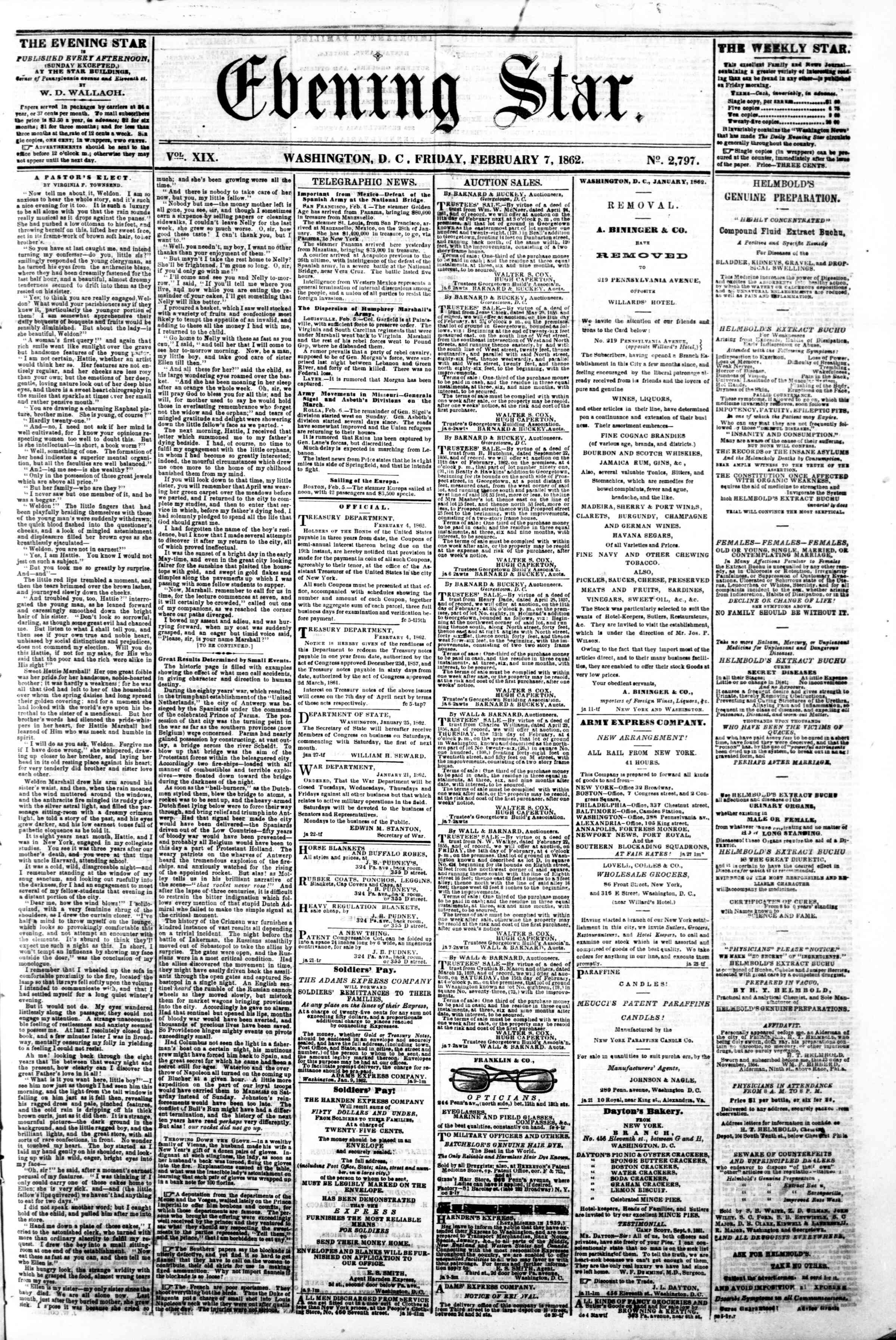 Newspaper of Evening Star dated February 7, 1862 Page 1