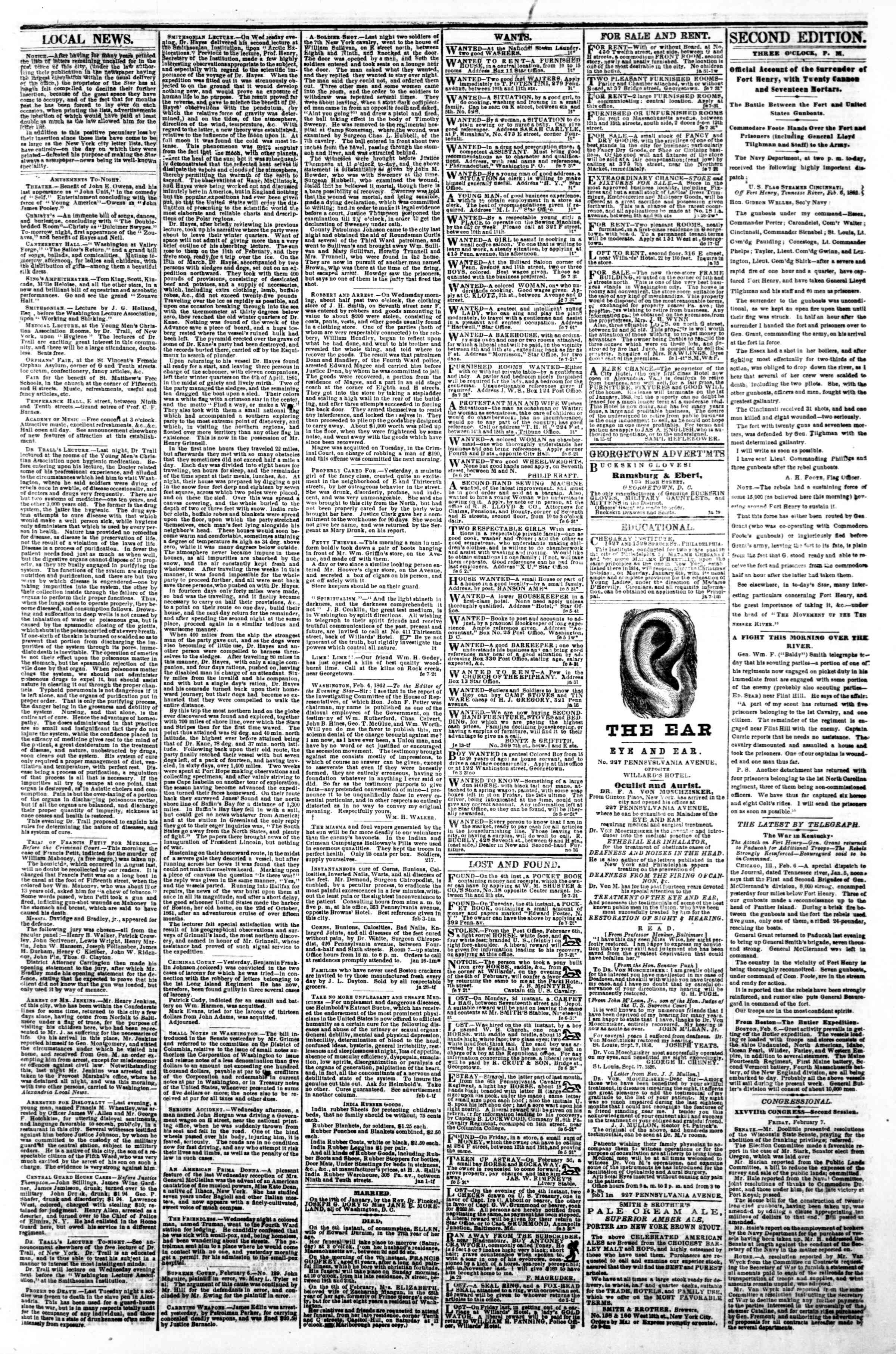 Newspaper of Evening Star dated February 7, 1862 Page 3