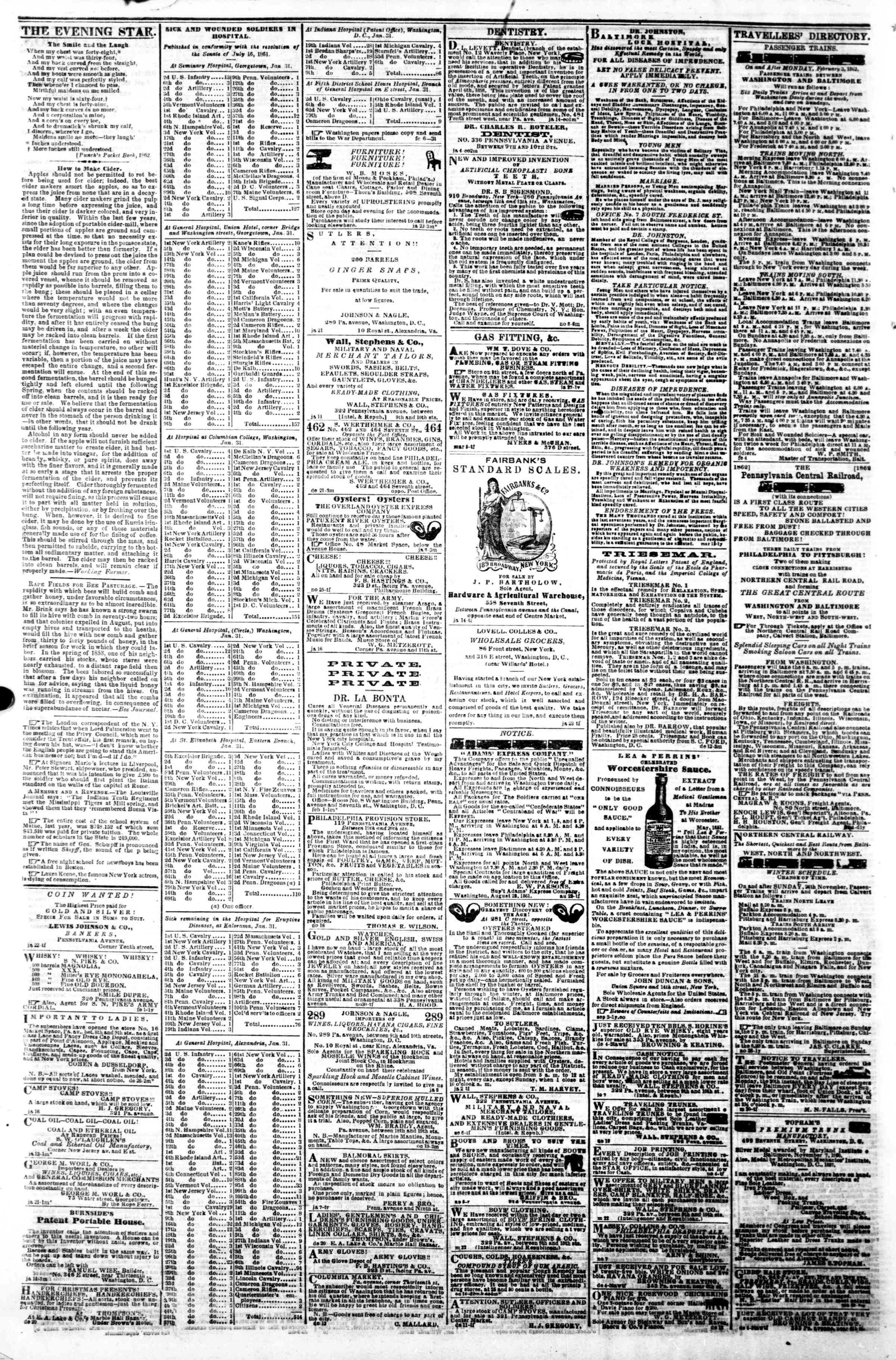 Newspaper of Evening Star dated February 7, 1862 Page 4