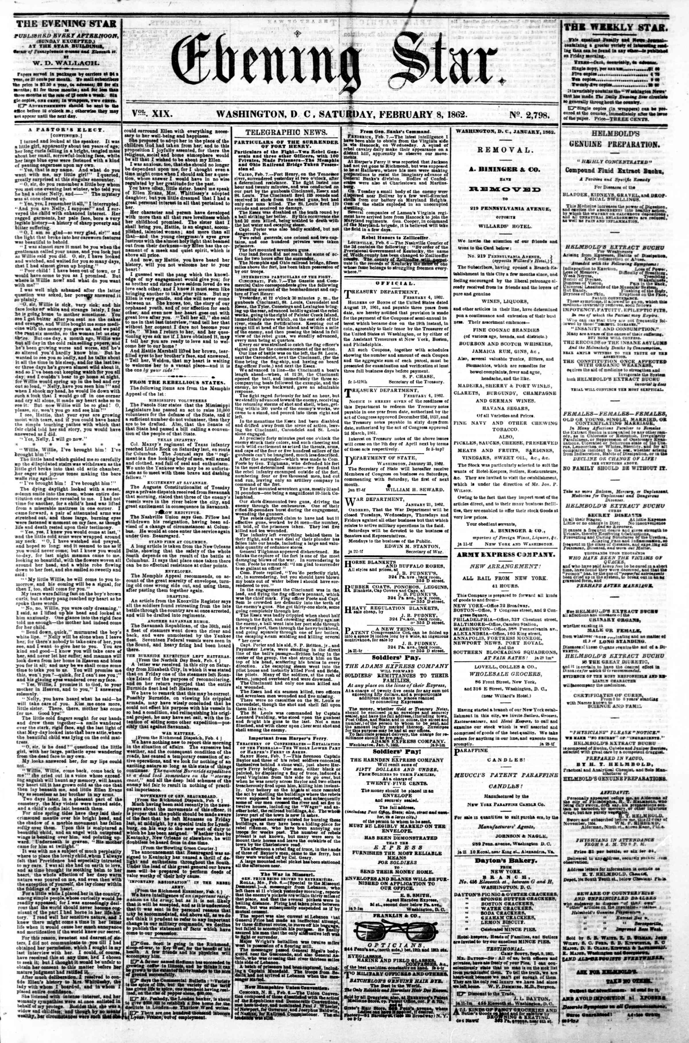 Newspaper of Evening Star dated 8 Şubat 1862 Page 1