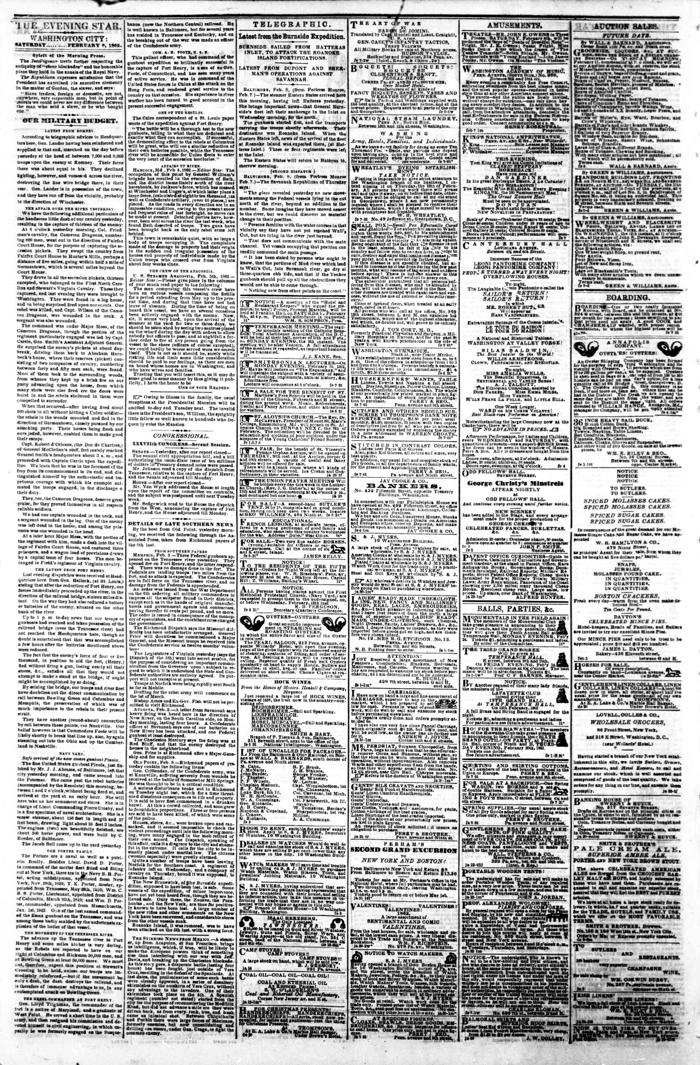 Newspaper of Evening Star dated February 8, 1862 Page 2