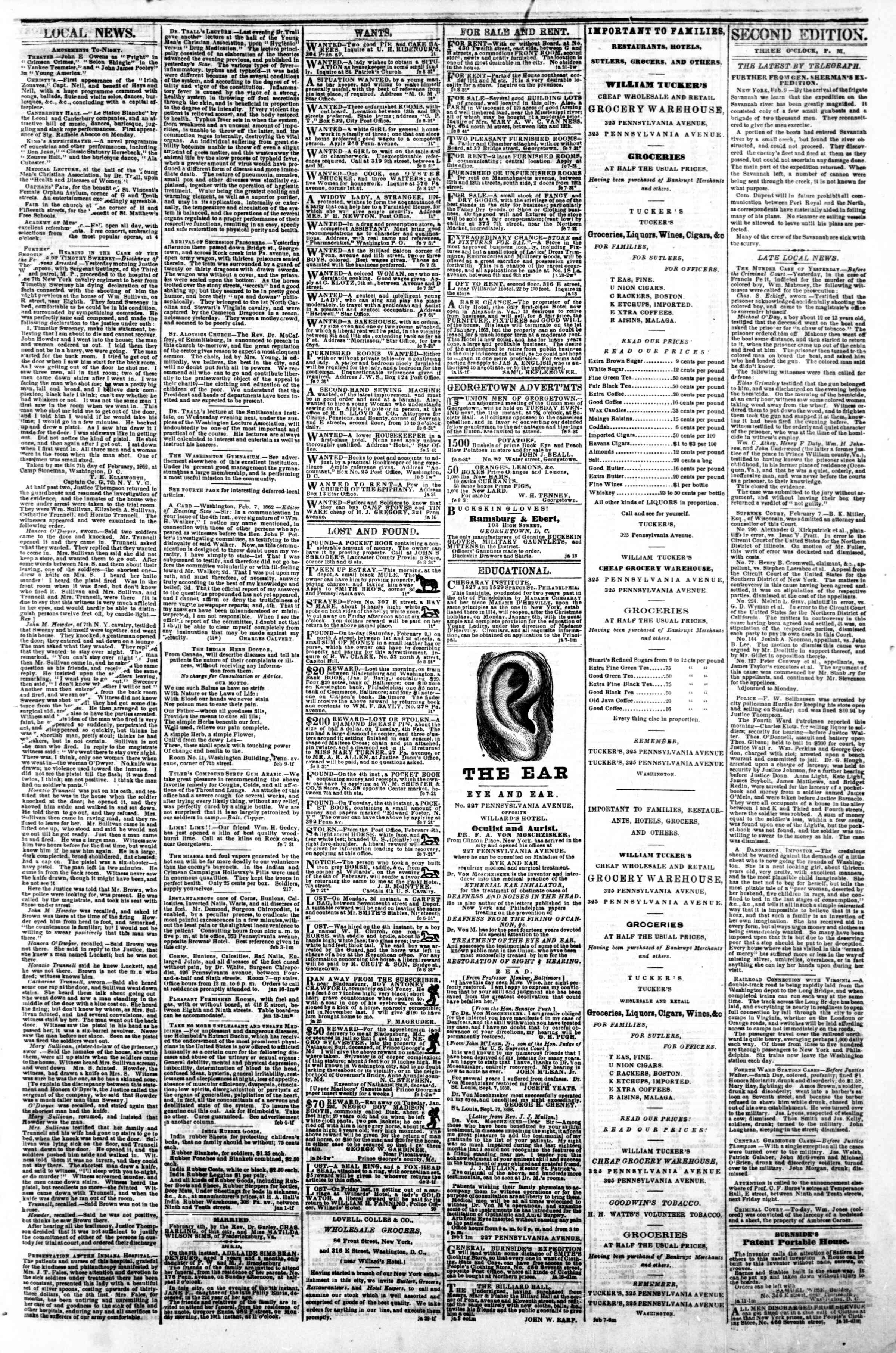 Newspaper of Evening Star dated February 8, 1862 Page 3