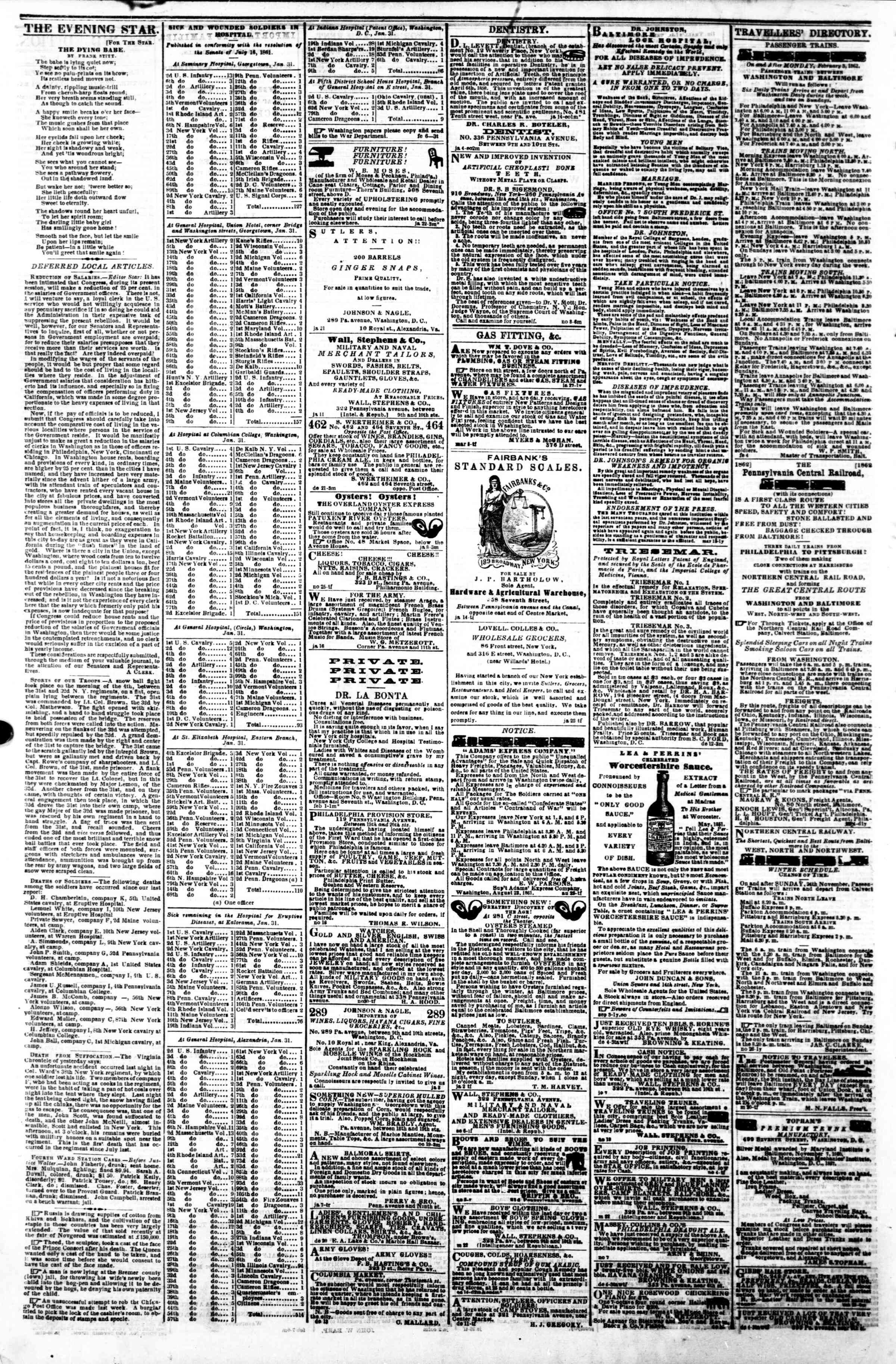Newspaper of Evening Star dated February 8, 1862 Page 4