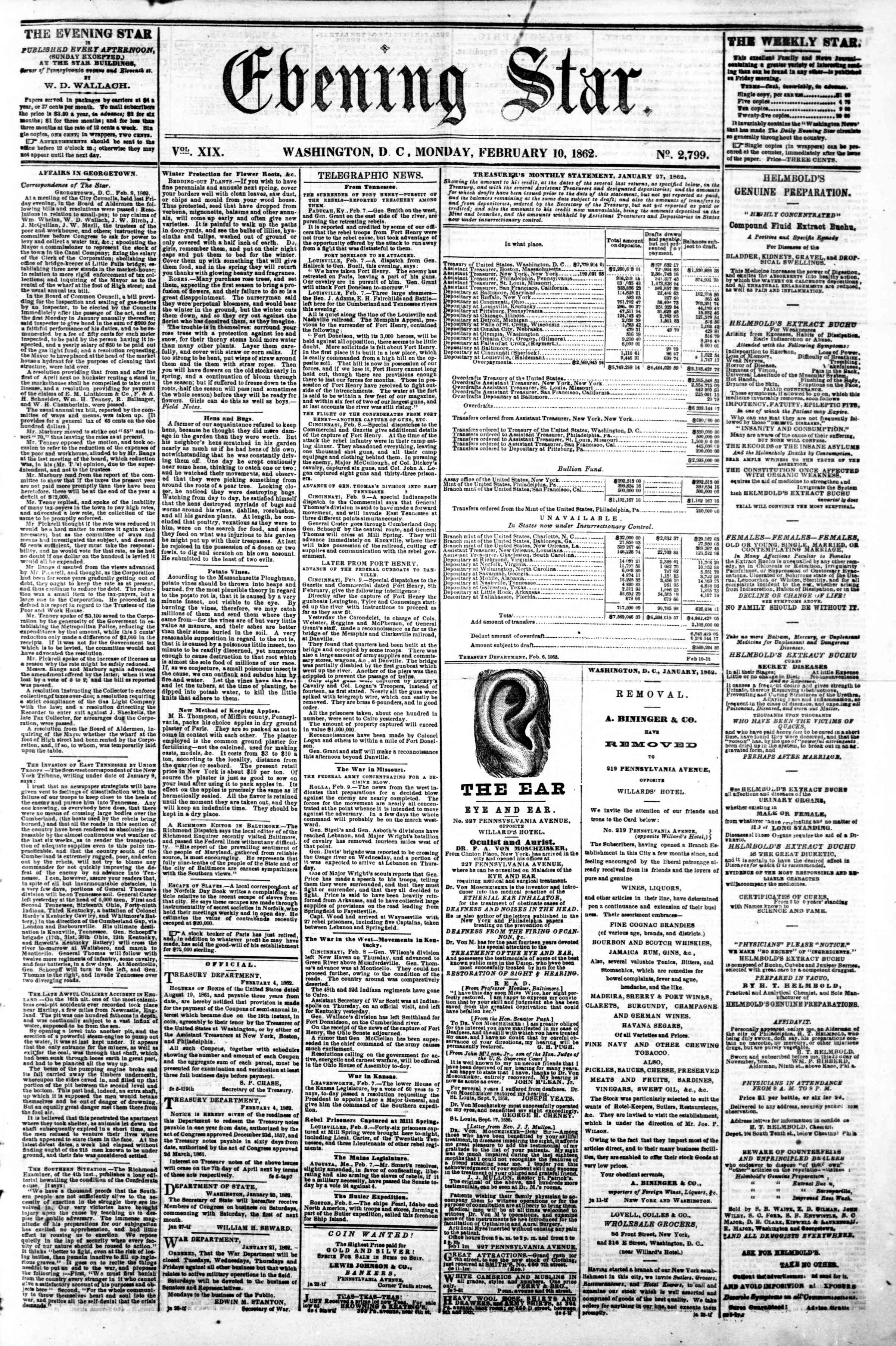 Newspaper of Evening Star dated February 10, 1862 Page 1