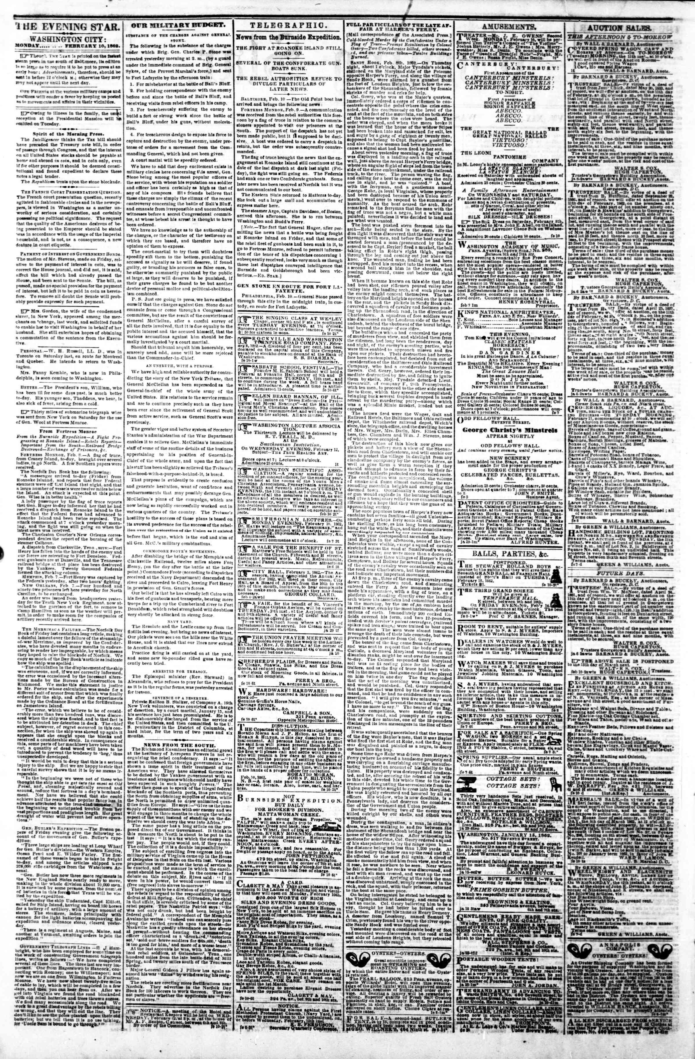 Newspaper of Evening Star dated February 10, 1862 Page 2