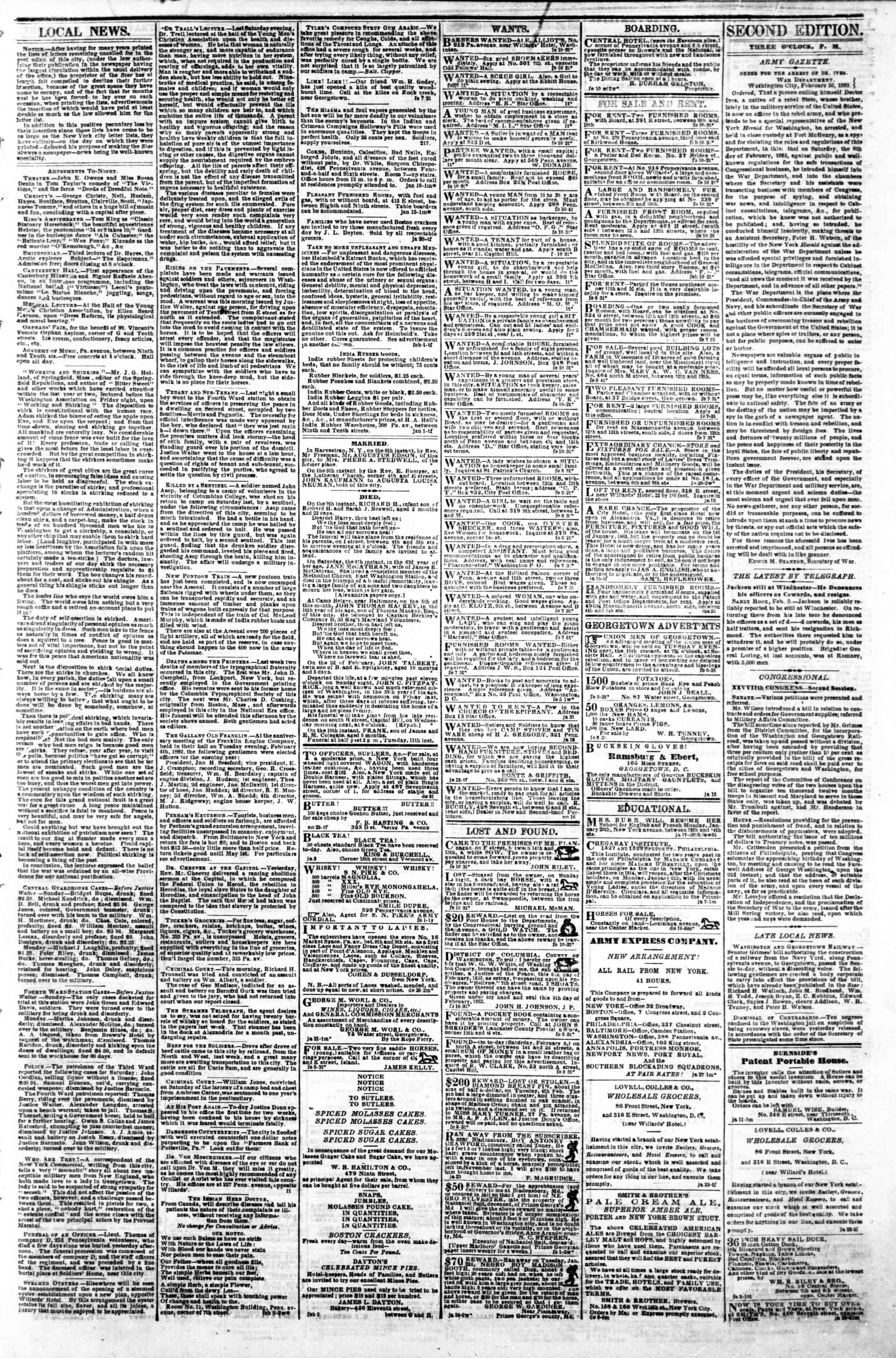 Newspaper of Evening Star dated February 10, 1862 Page 3