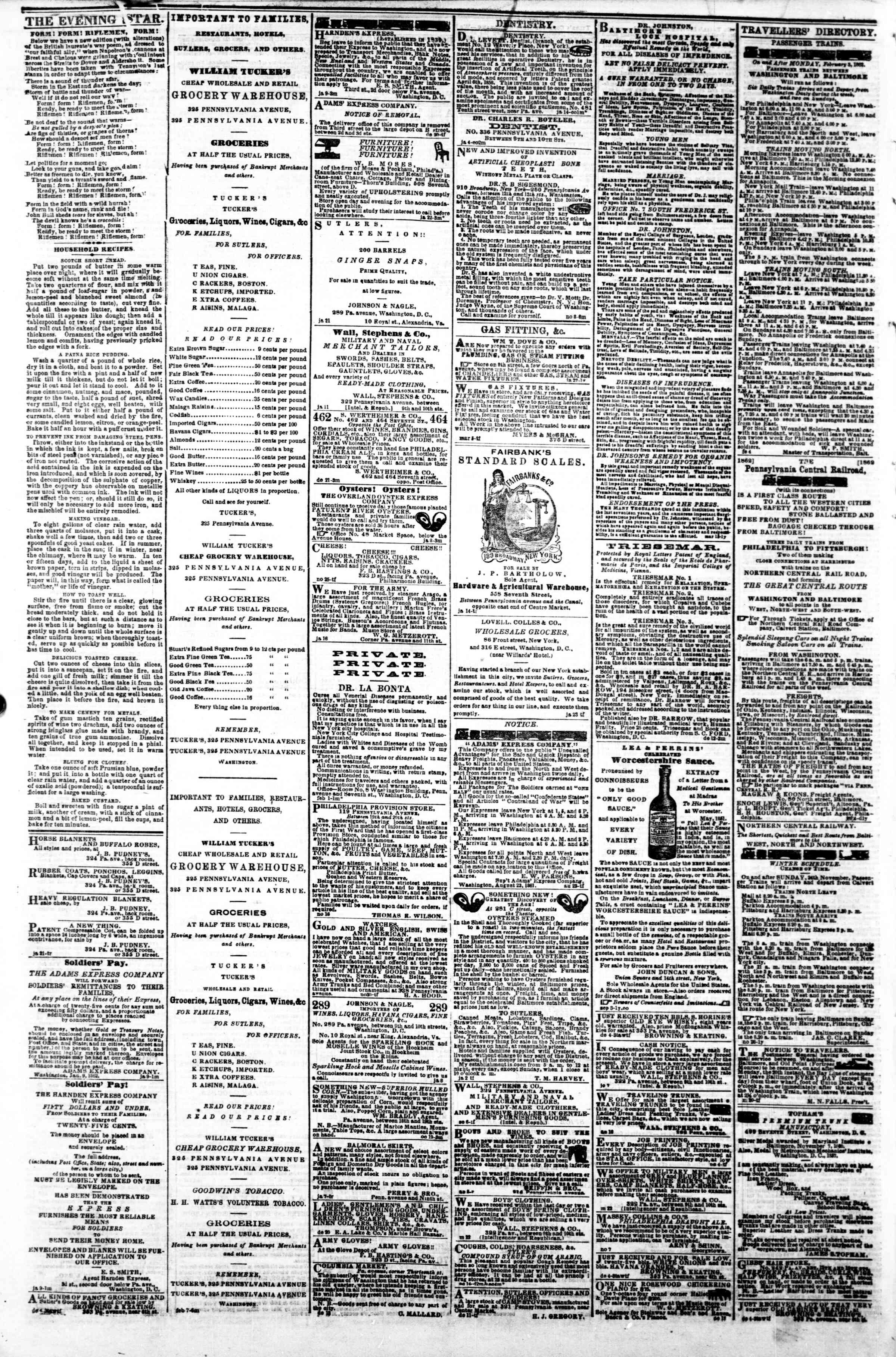 Newspaper of Evening Star dated February 10, 1862 Page 4