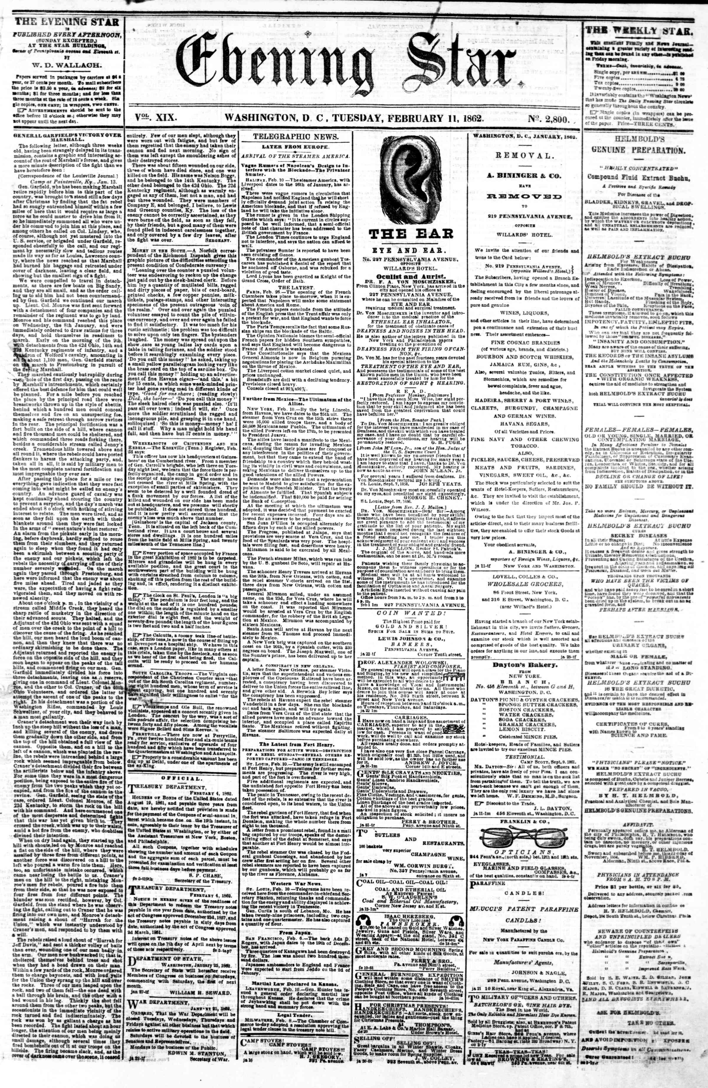 Newspaper of Evening Star dated February 11, 1862 Page 1
