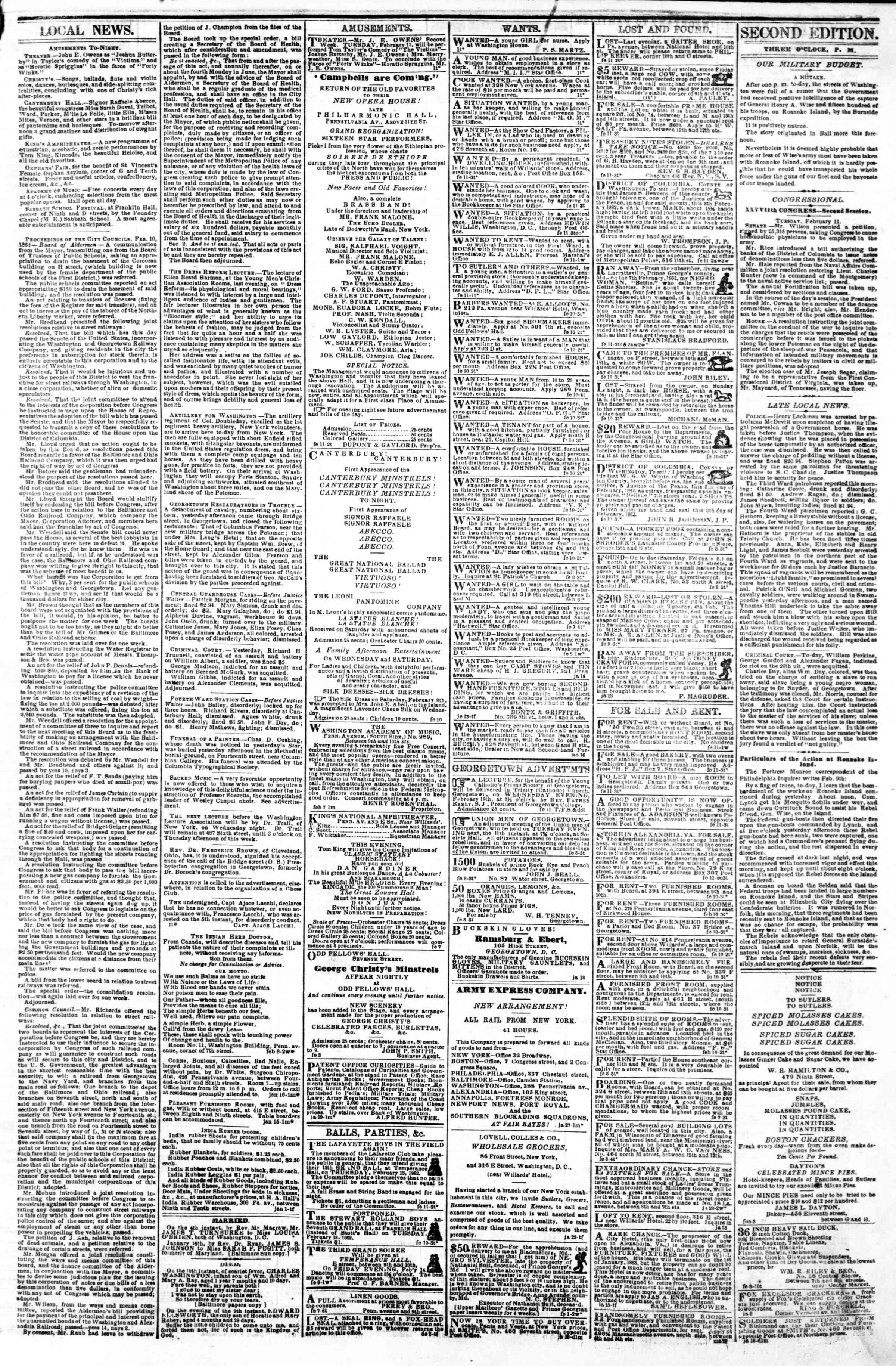 Newspaper of Evening Star dated February 11, 1862 Page 3