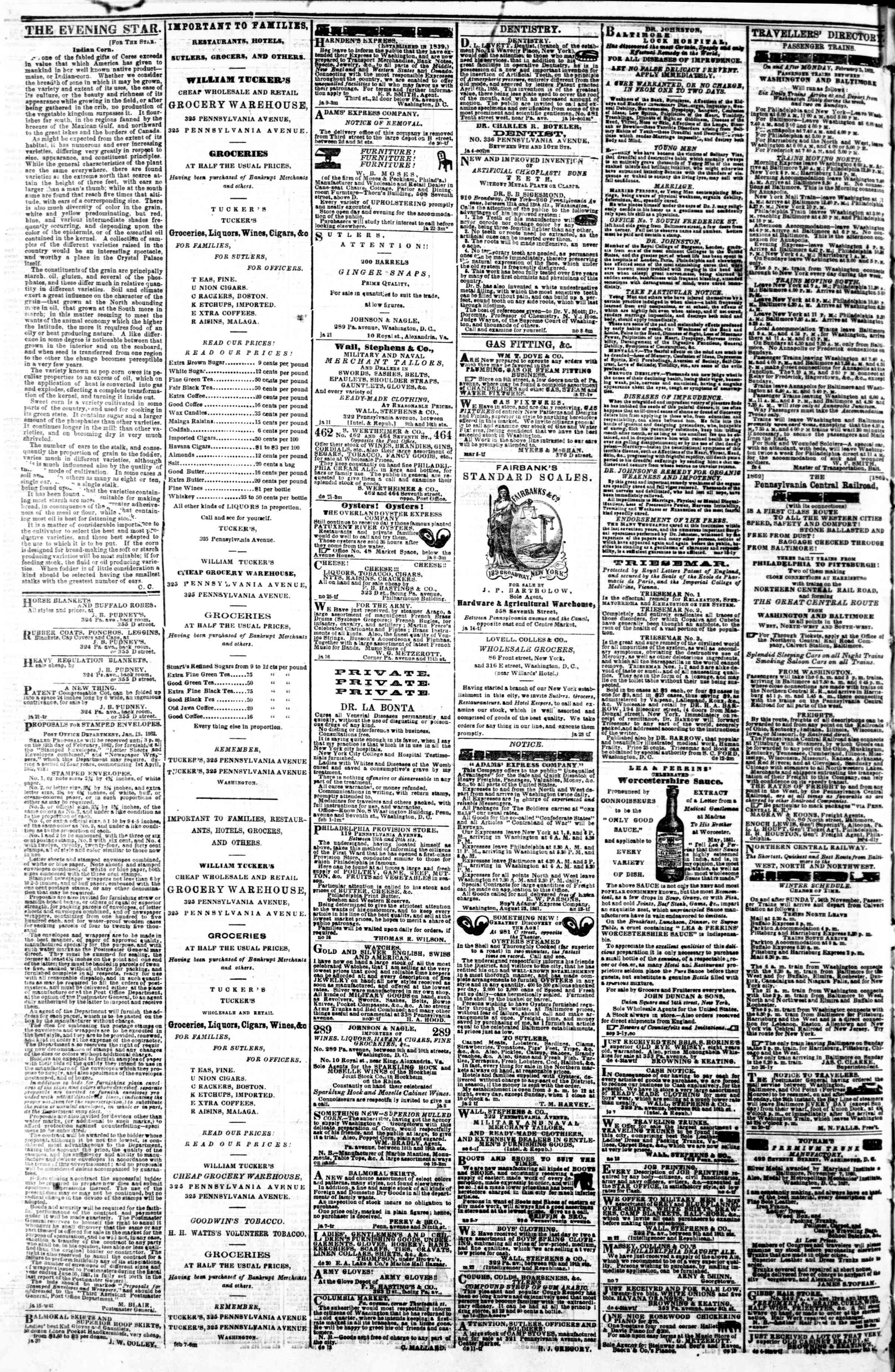 Newspaper of Evening Star dated February 11, 1862 Page 4