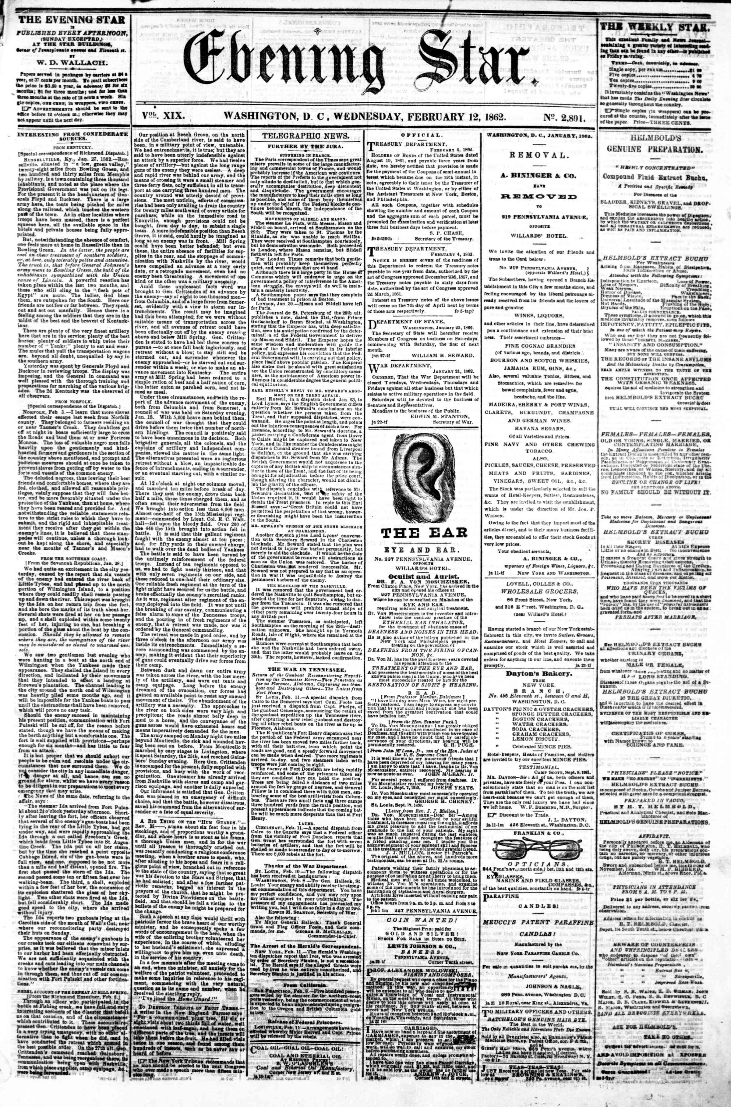 Newspaper of Evening Star dated February 12, 1862 Page 1