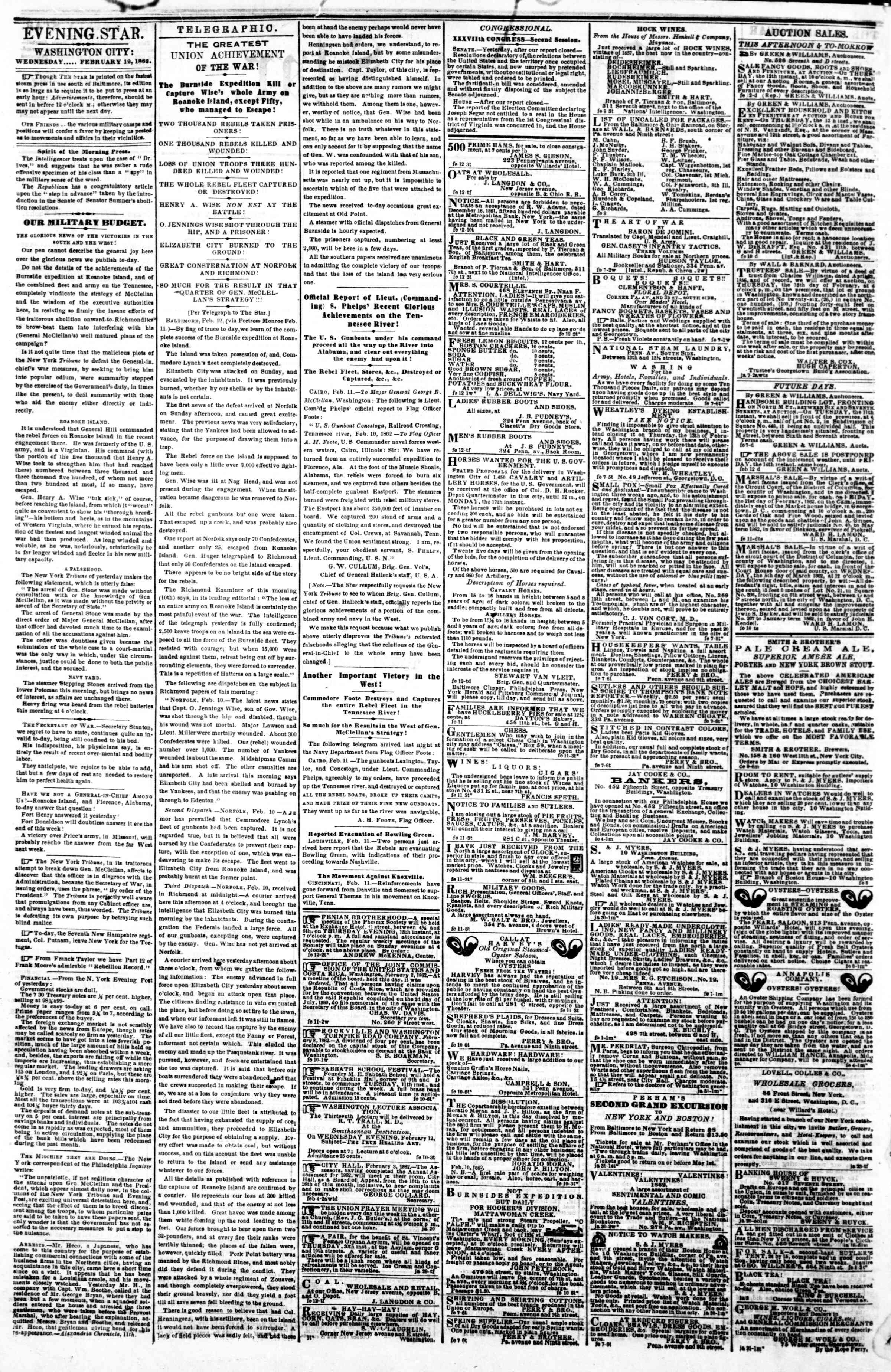 Newspaper of Evening Star dated February 12, 1862 Page 2