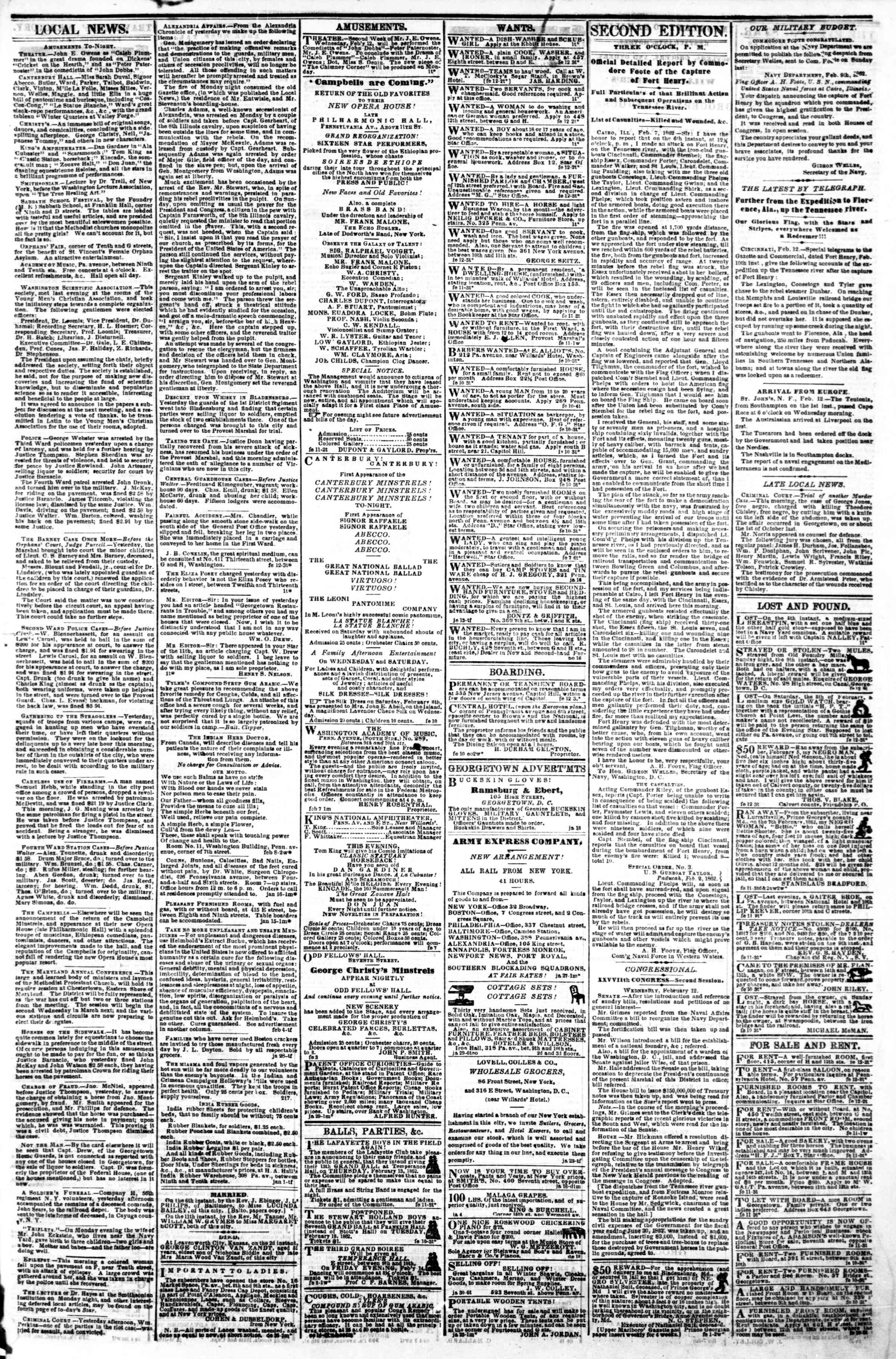 Newspaper of Evening Star dated February 12, 1862 Page 3