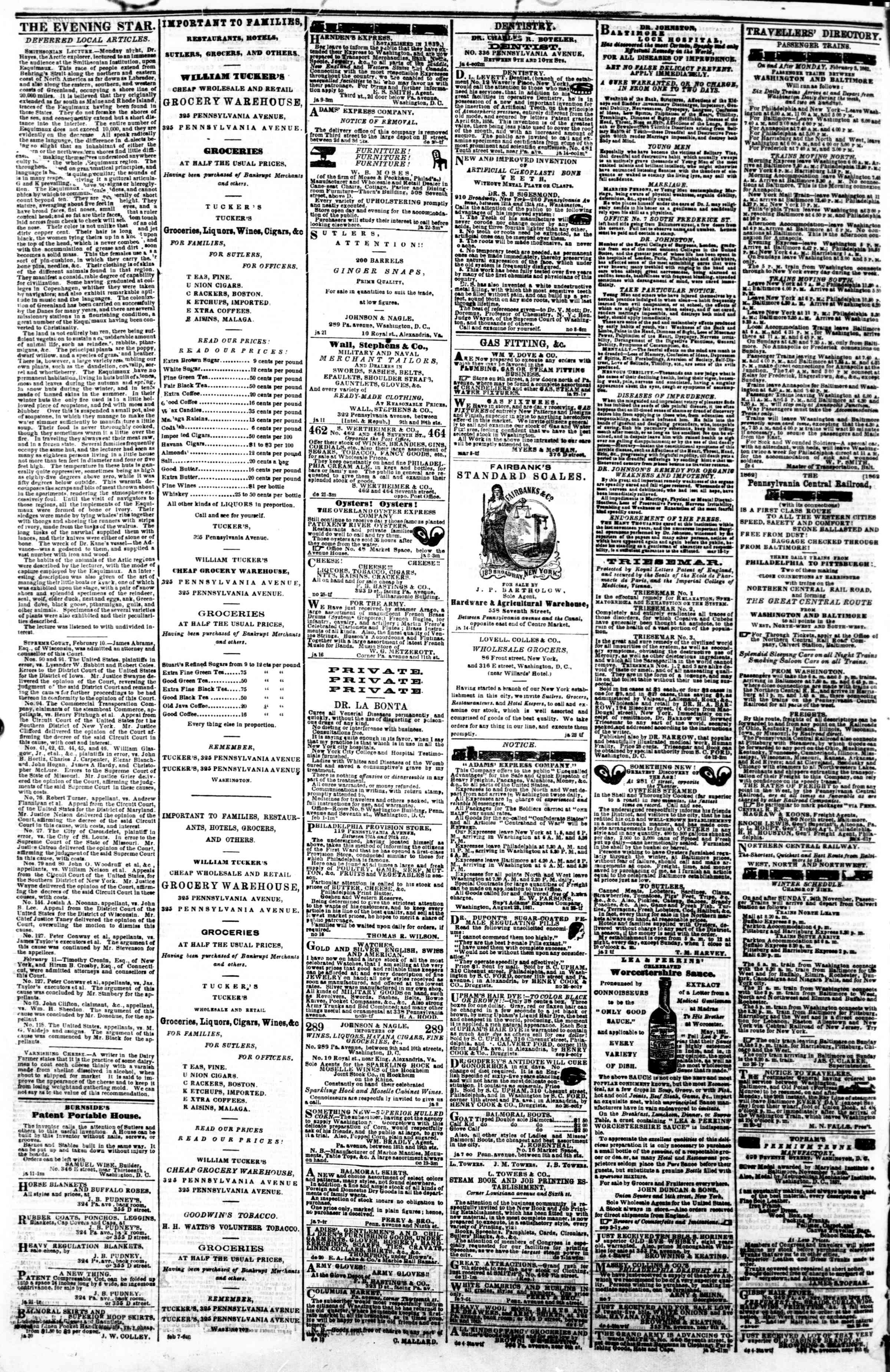 Newspaper of Evening Star dated February 12, 1862 Page 4