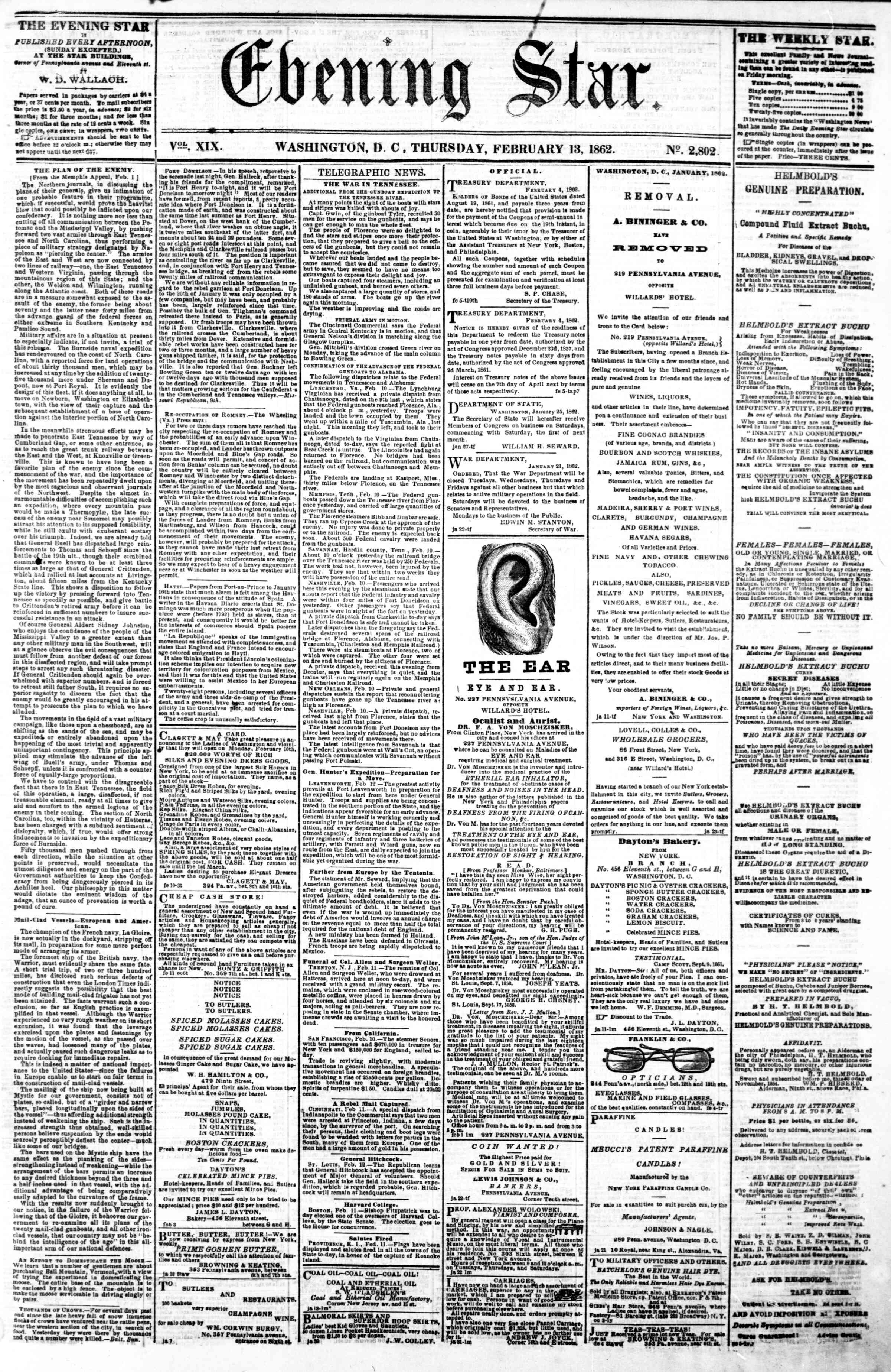 Newspaper of Evening Star dated February 13, 1862 Page 1