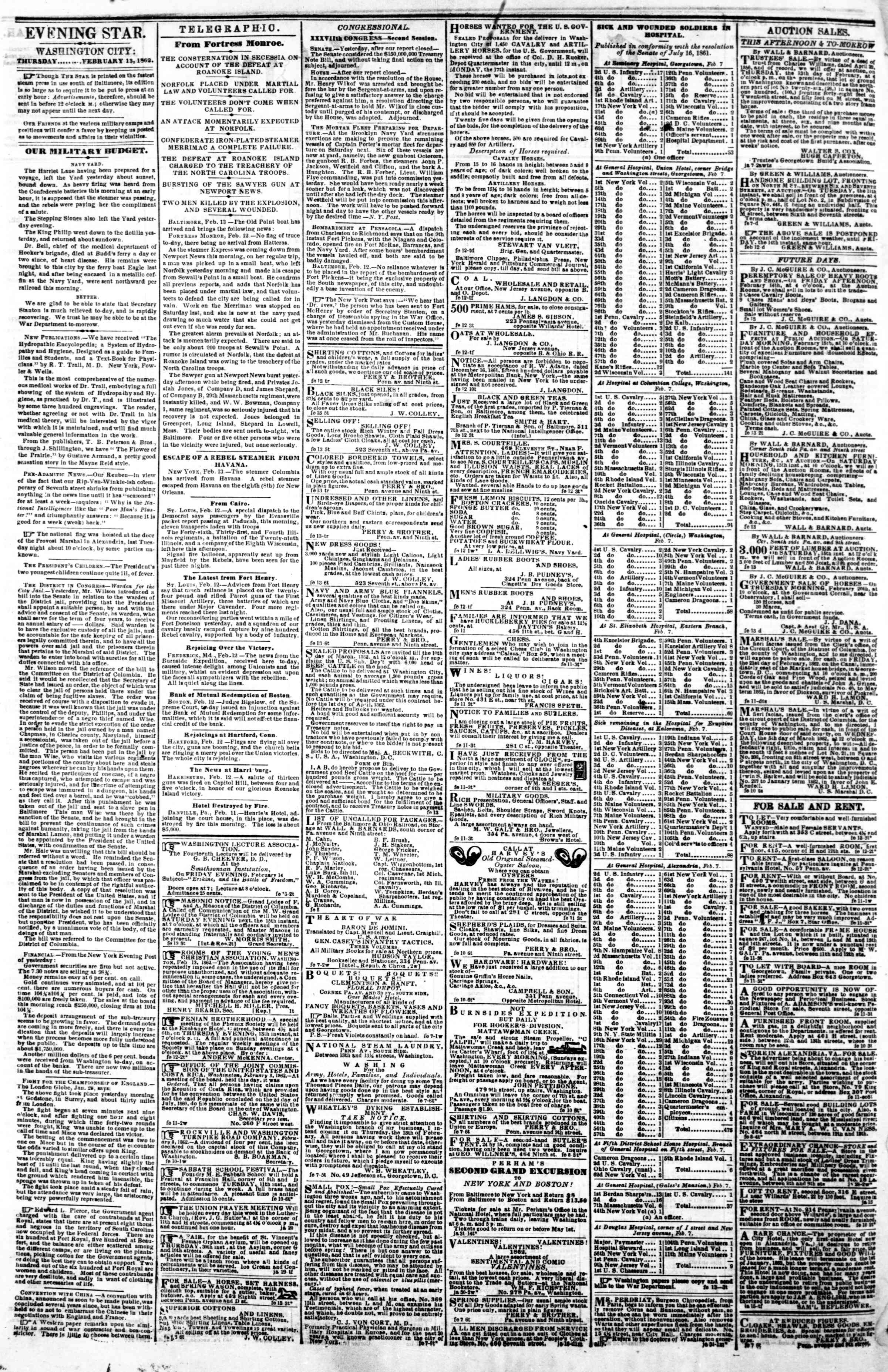 Newspaper of Evening Star dated February 13, 1862 Page 2