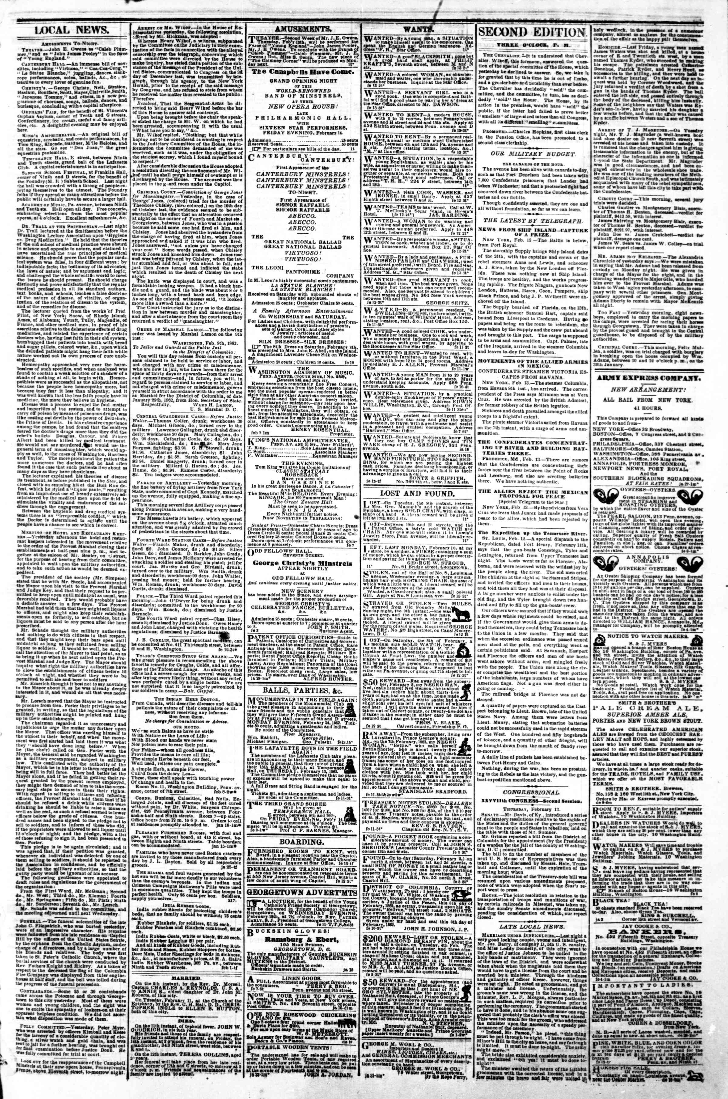Newspaper of Evening Star dated February 13, 1862 Page 3