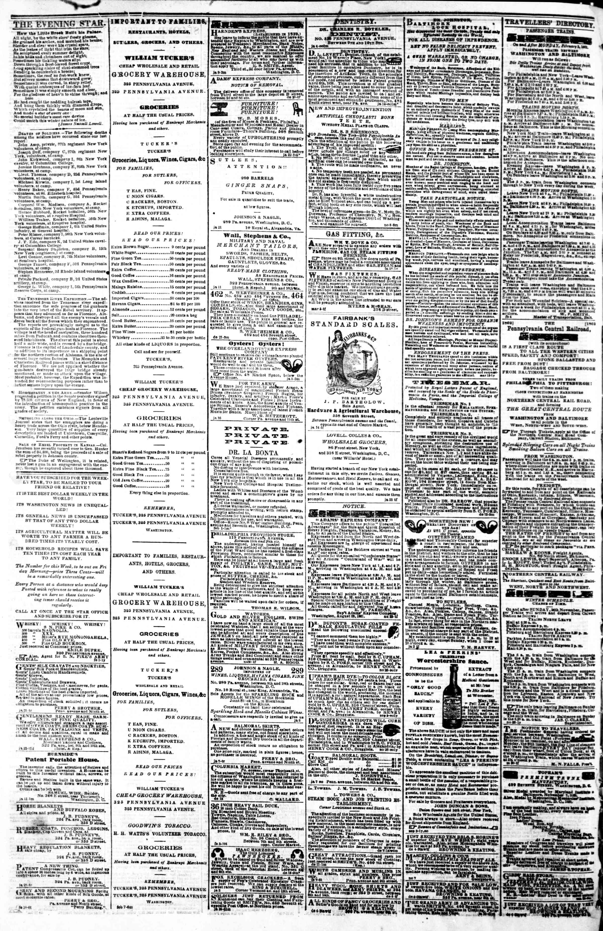 Newspaper of Evening Star dated February 13, 1862 Page 4