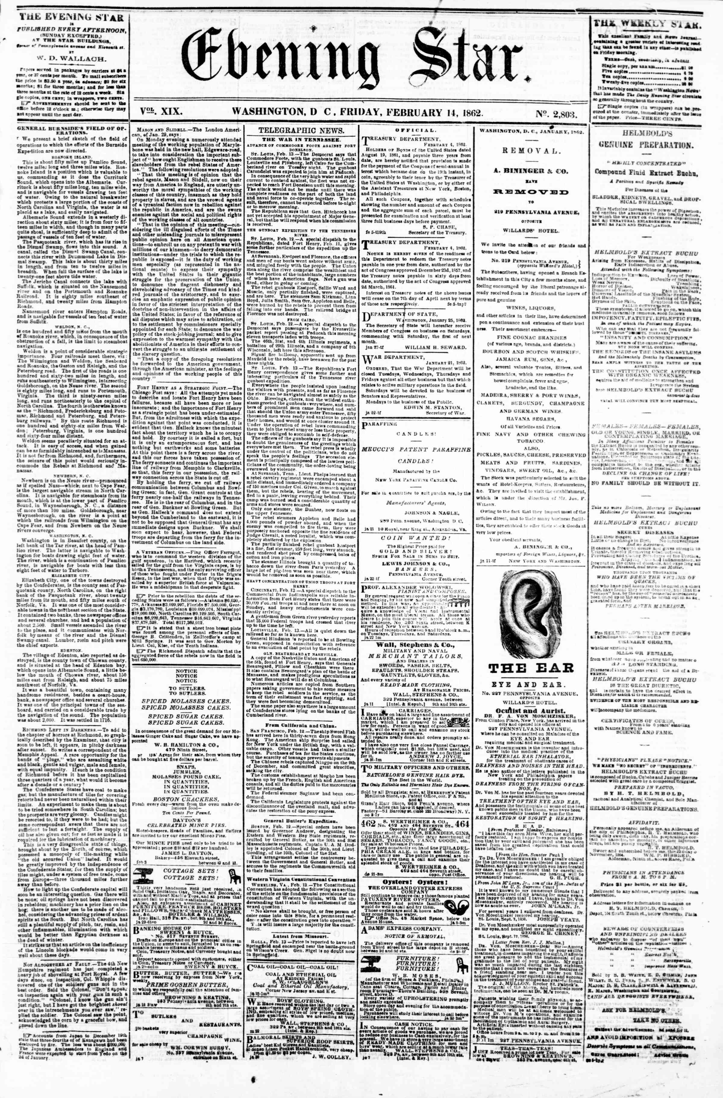 Newspaper of Evening Star dated February 14, 1862 Page 1