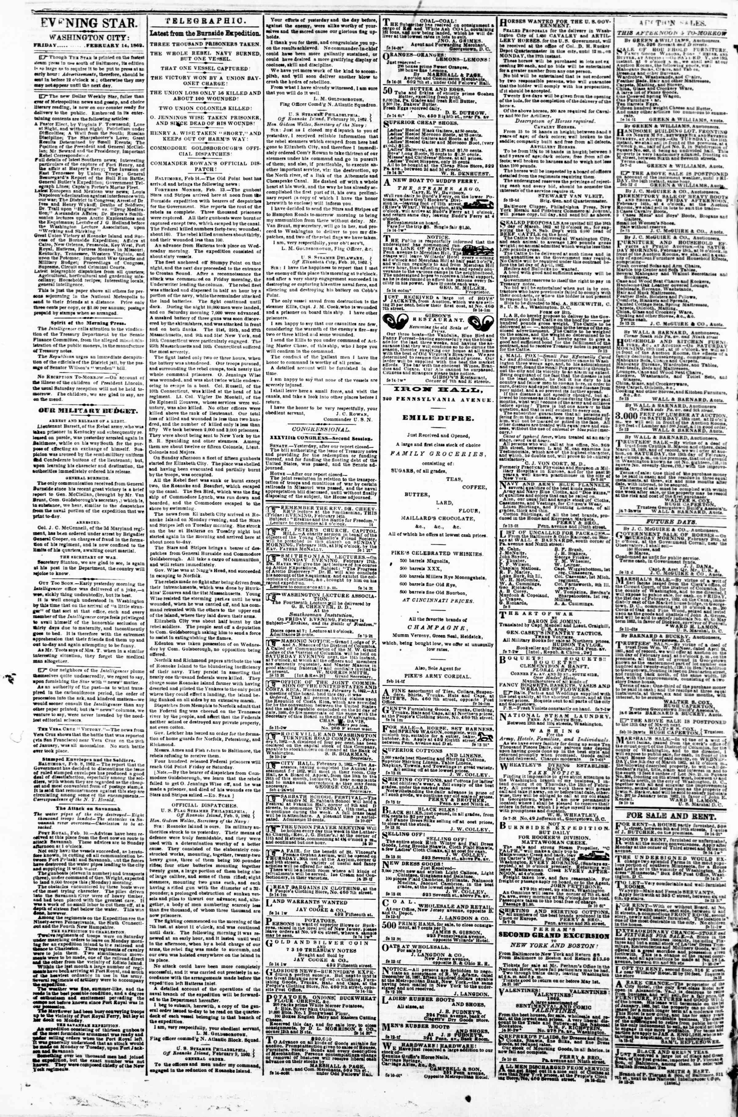 Newspaper of Evening Star dated February 14, 1862 Page 2