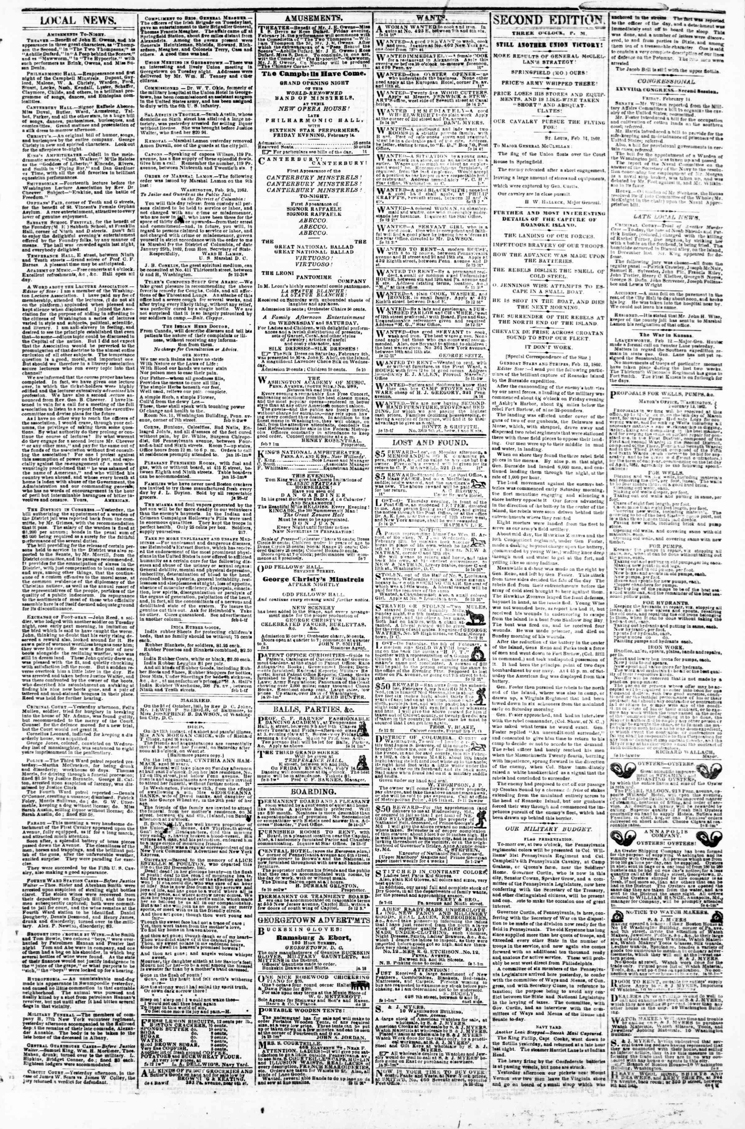Newspaper of Evening Star dated February 14, 1862 Page 3
