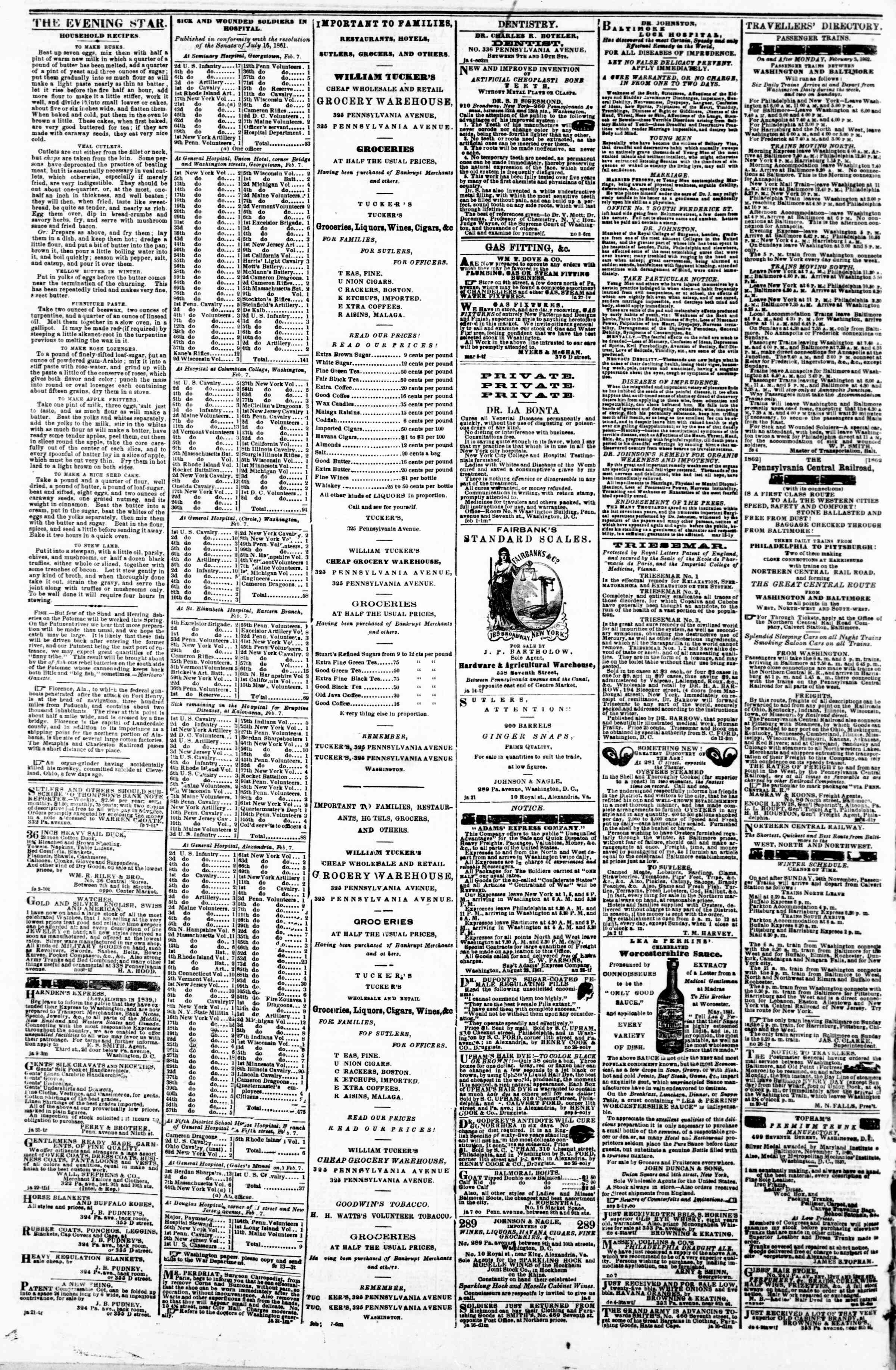 Newspaper of Evening Star dated February 14, 1862 Page 4