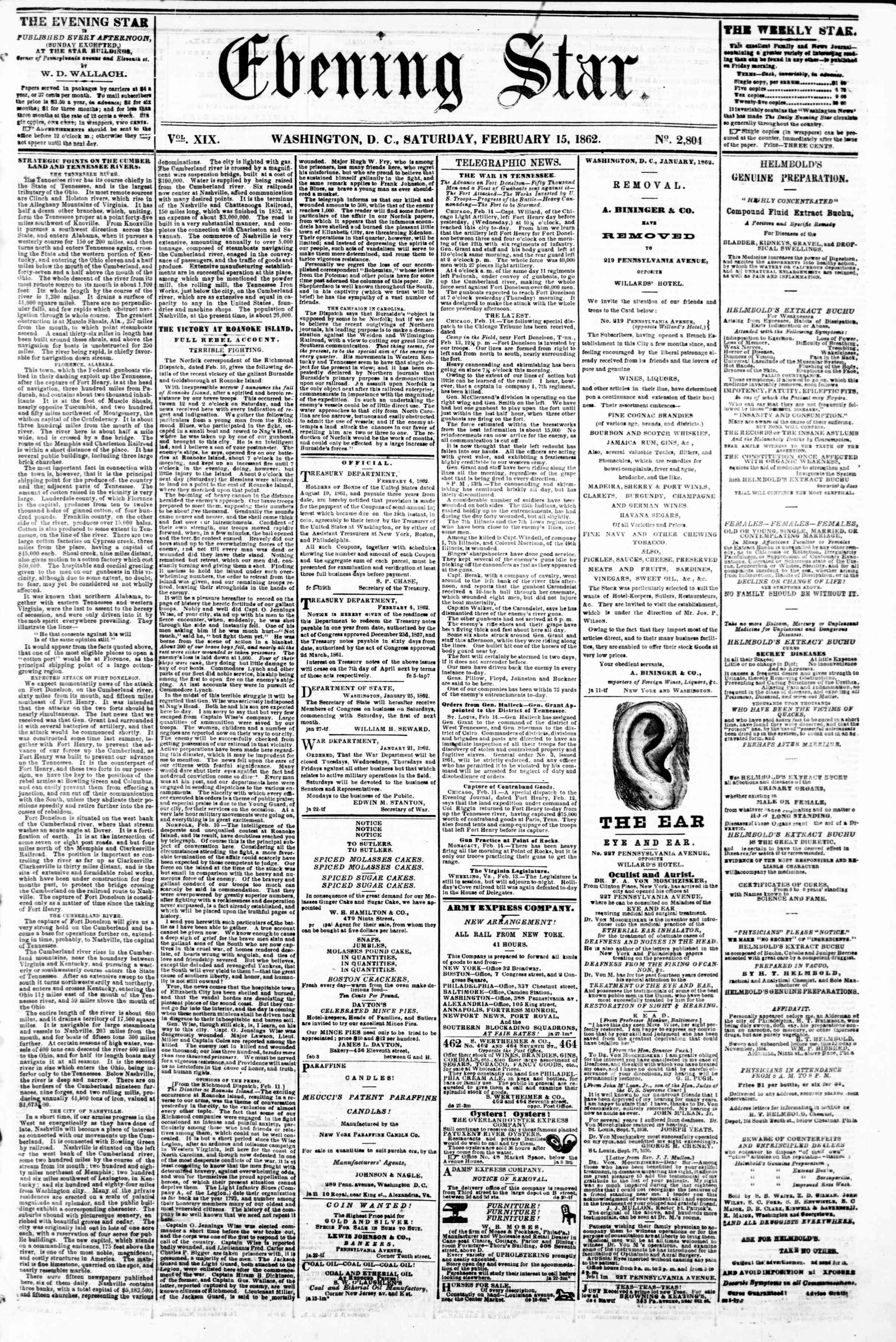 Newspaper of Evening Star dated February 15, 1862 Page 1