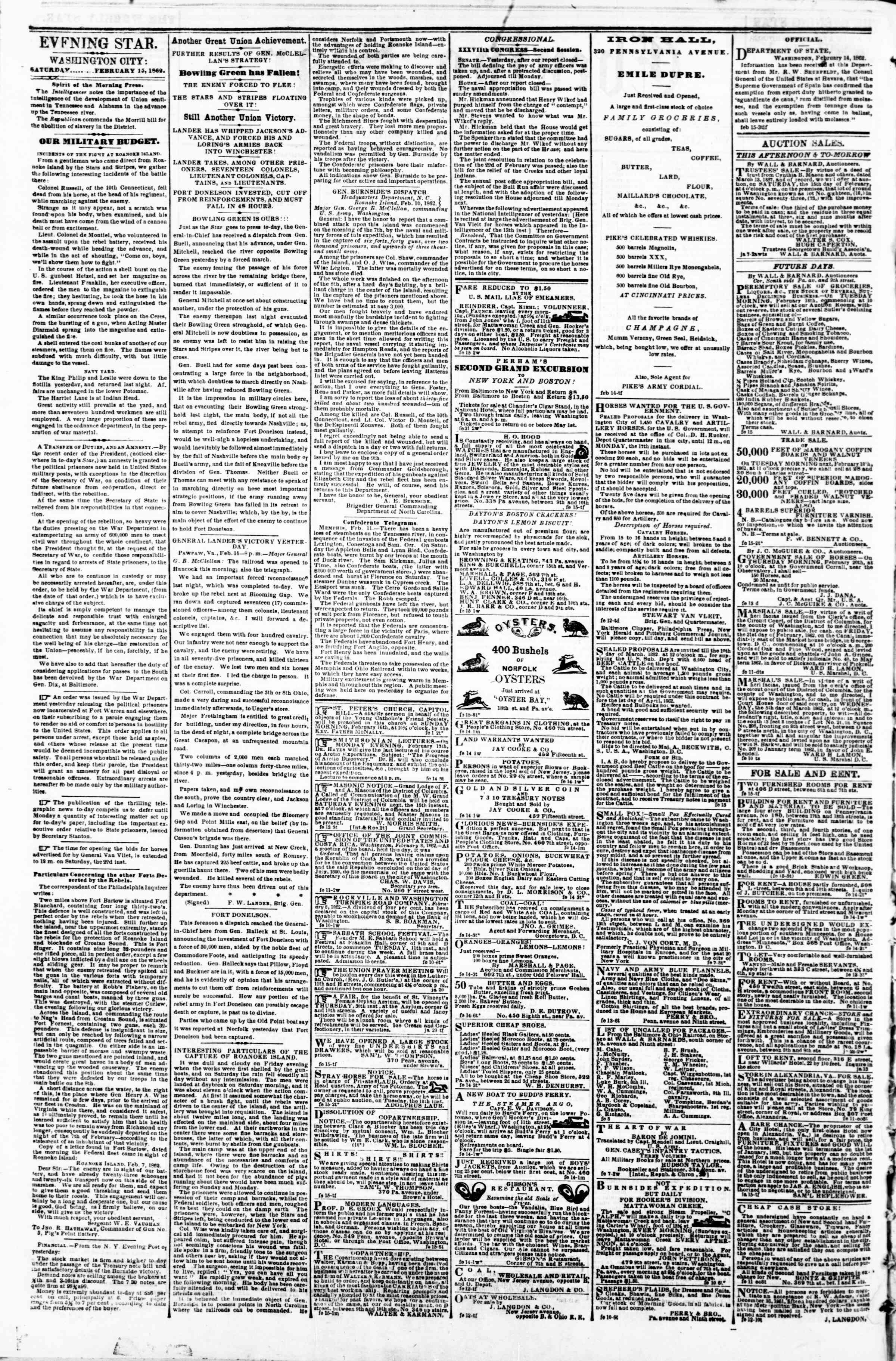 Newspaper of Evening Star dated February 15, 1862 Page 2