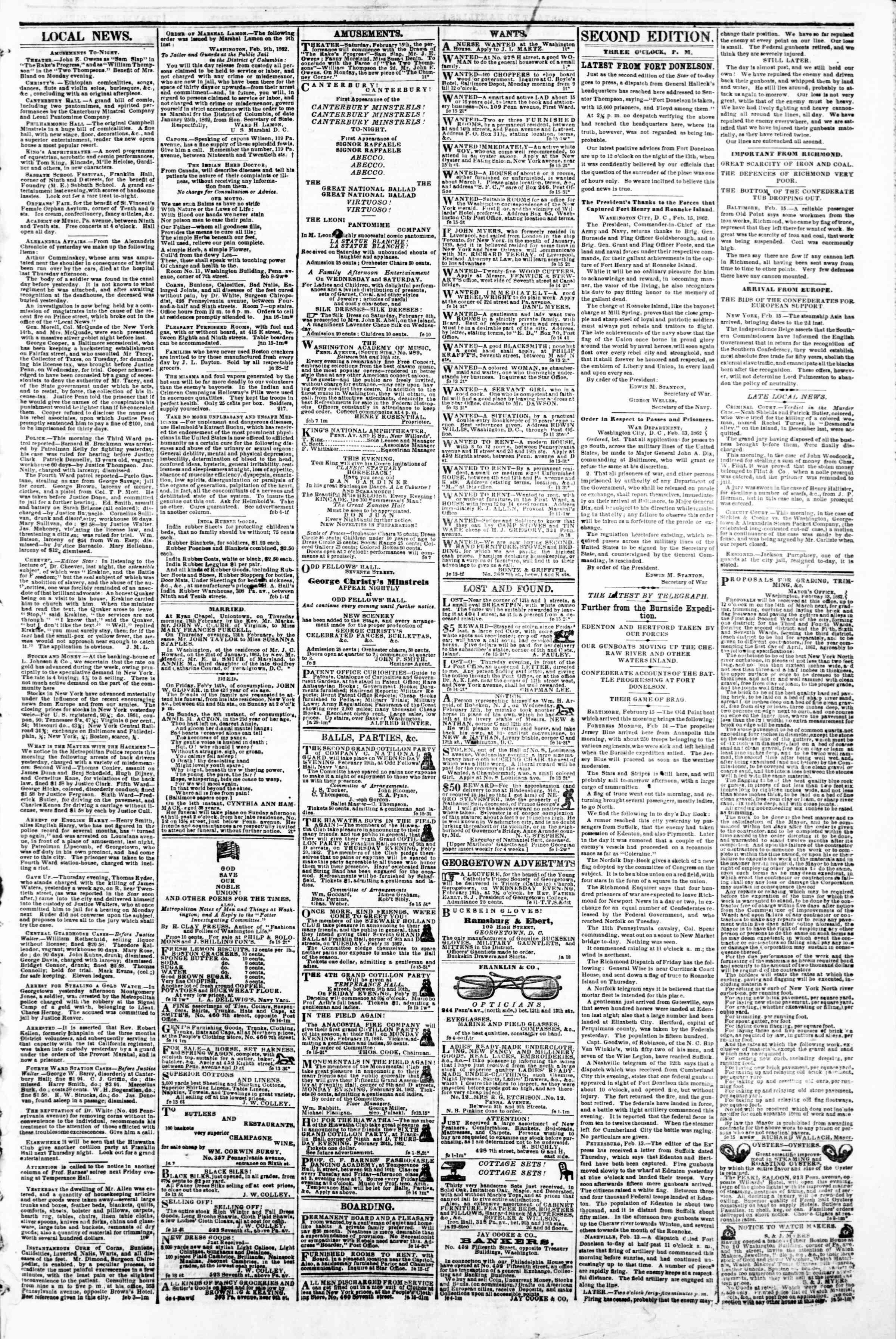Newspaper of Evening Star dated February 15, 1862 Page 3