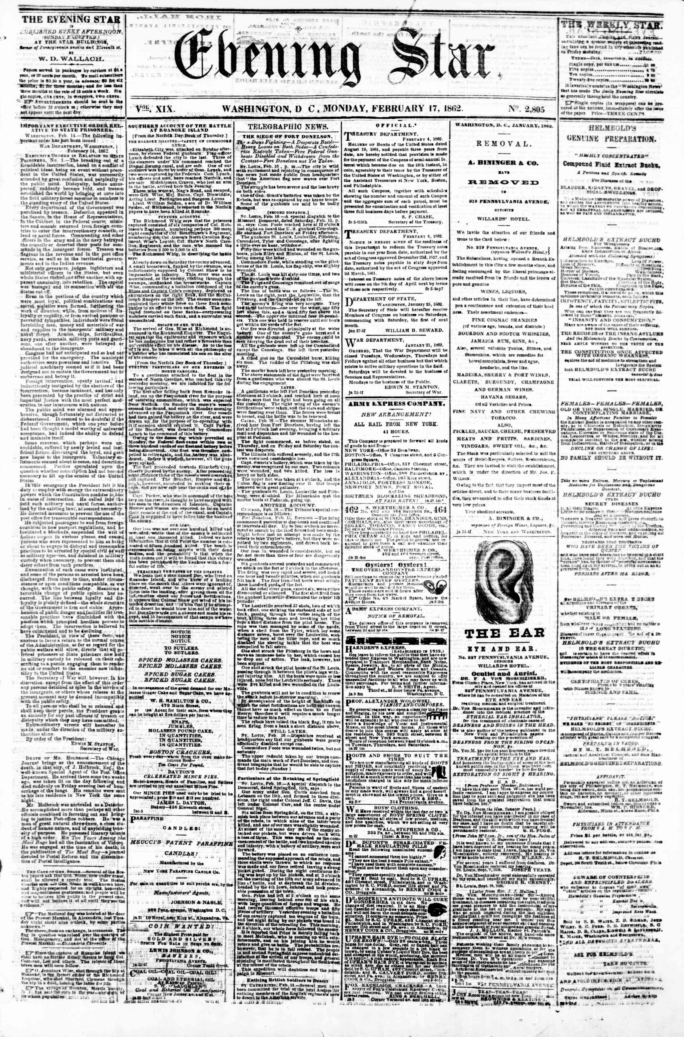 Newspaper of Evening Star dated February 17, 1862 Page 1