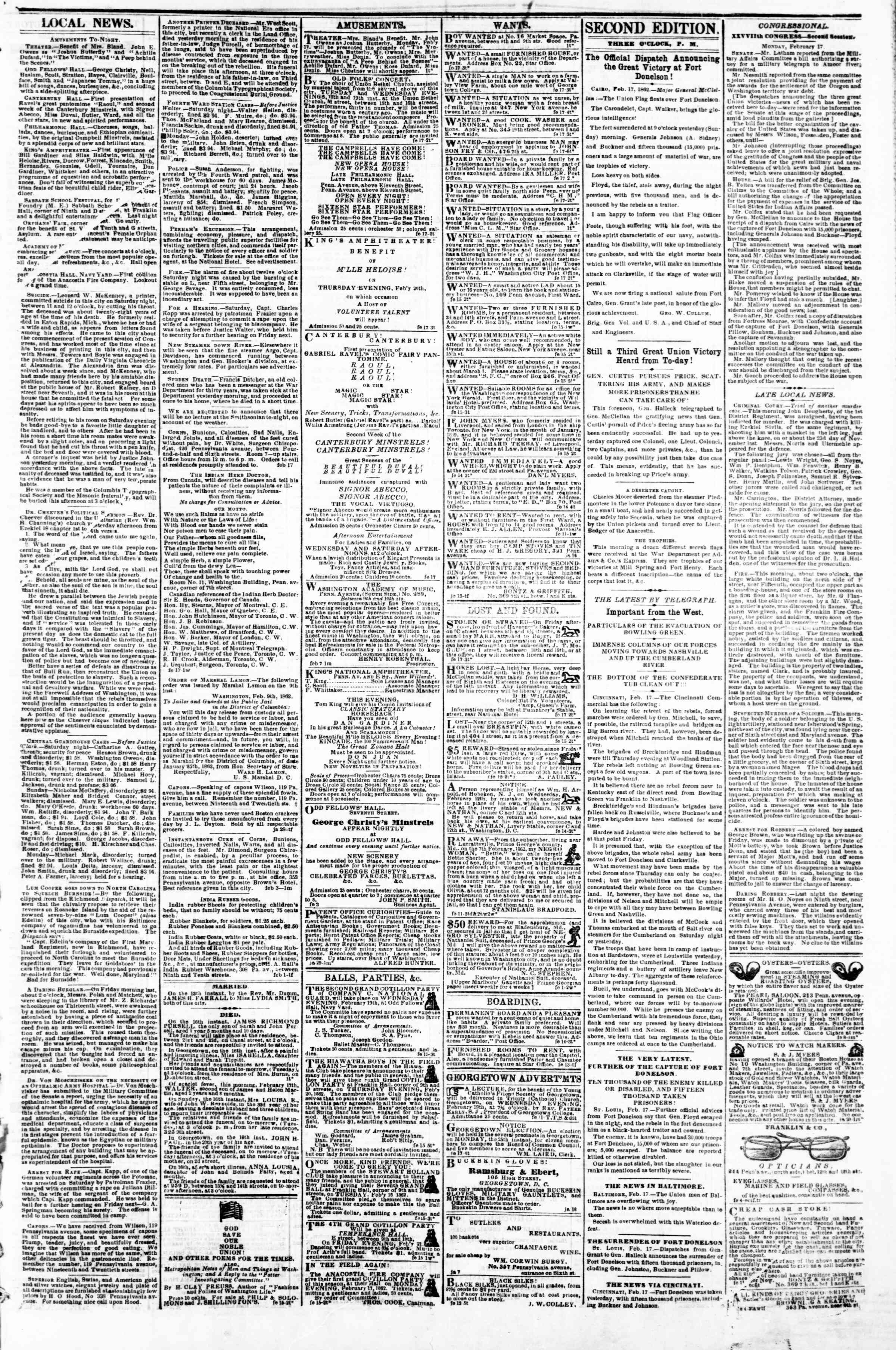 Newspaper of Evening Star dated February 17, 1862 Page 3