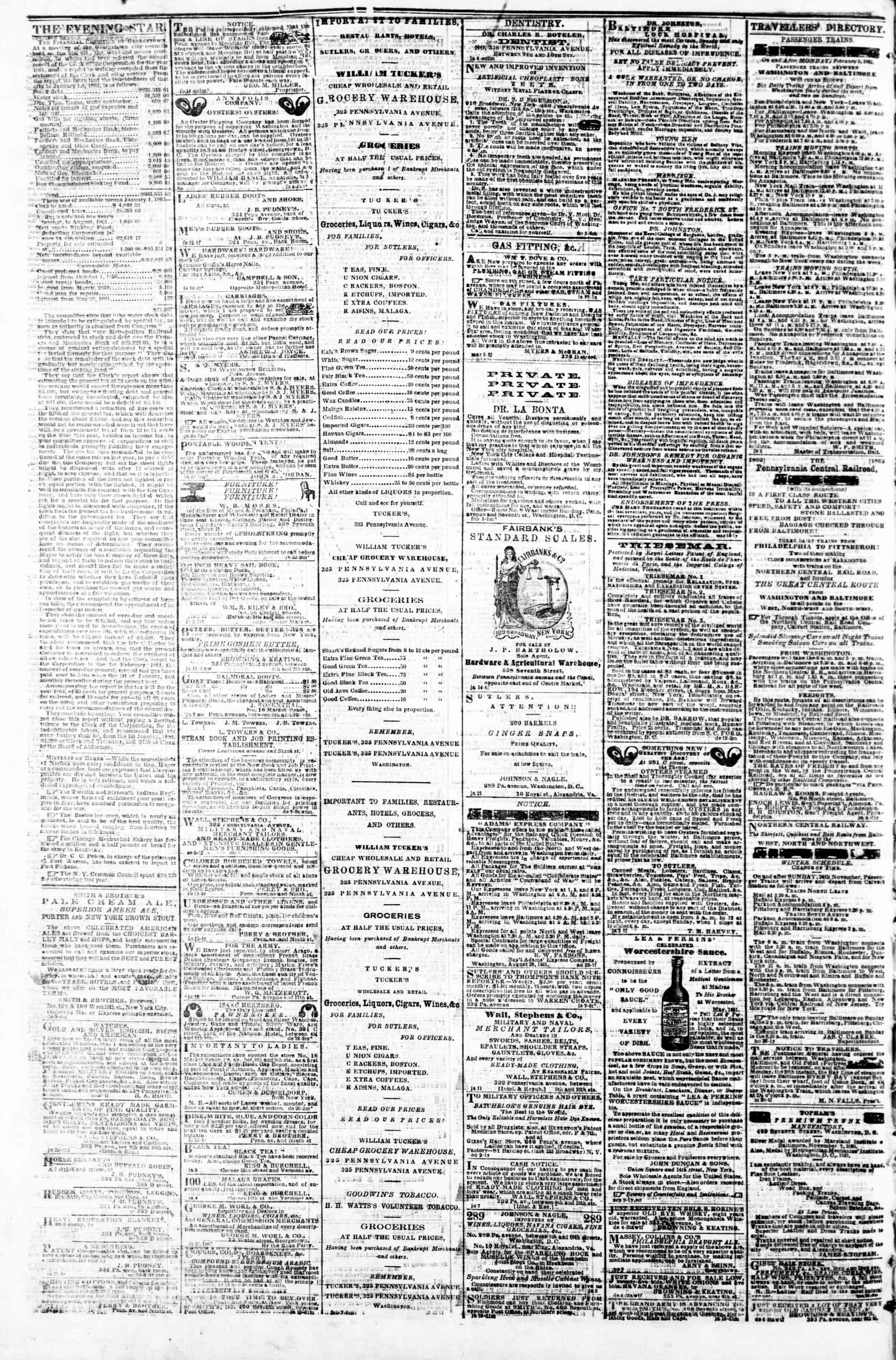 Newspaper of Evening Star dated February 17, 1862 Page 4