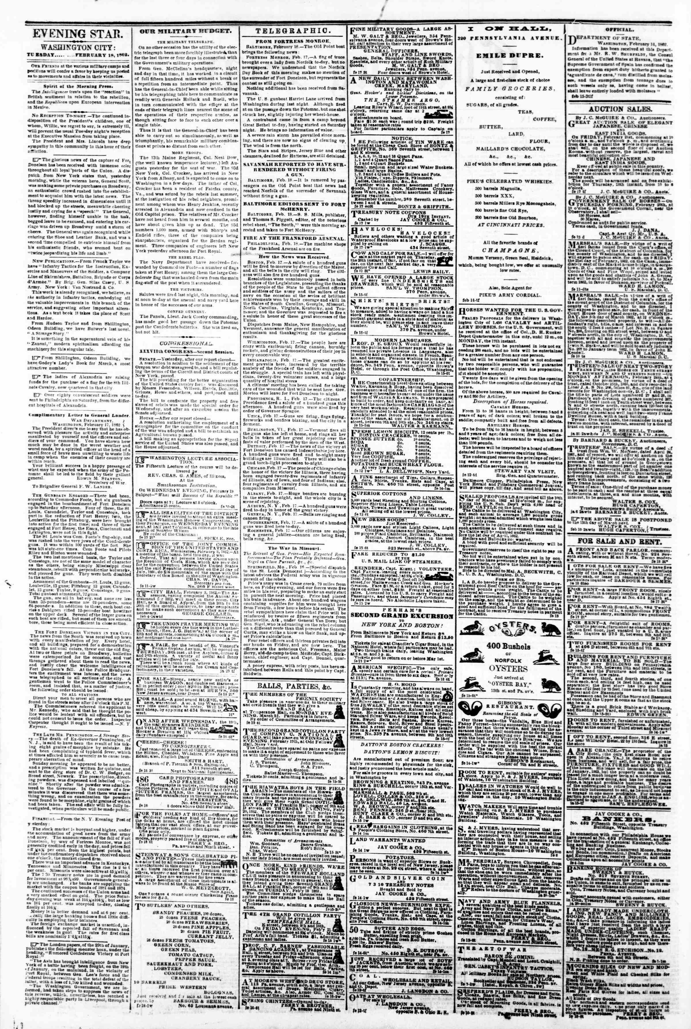 Newspaper of Evening Star dated February 18, 1862 Page 2