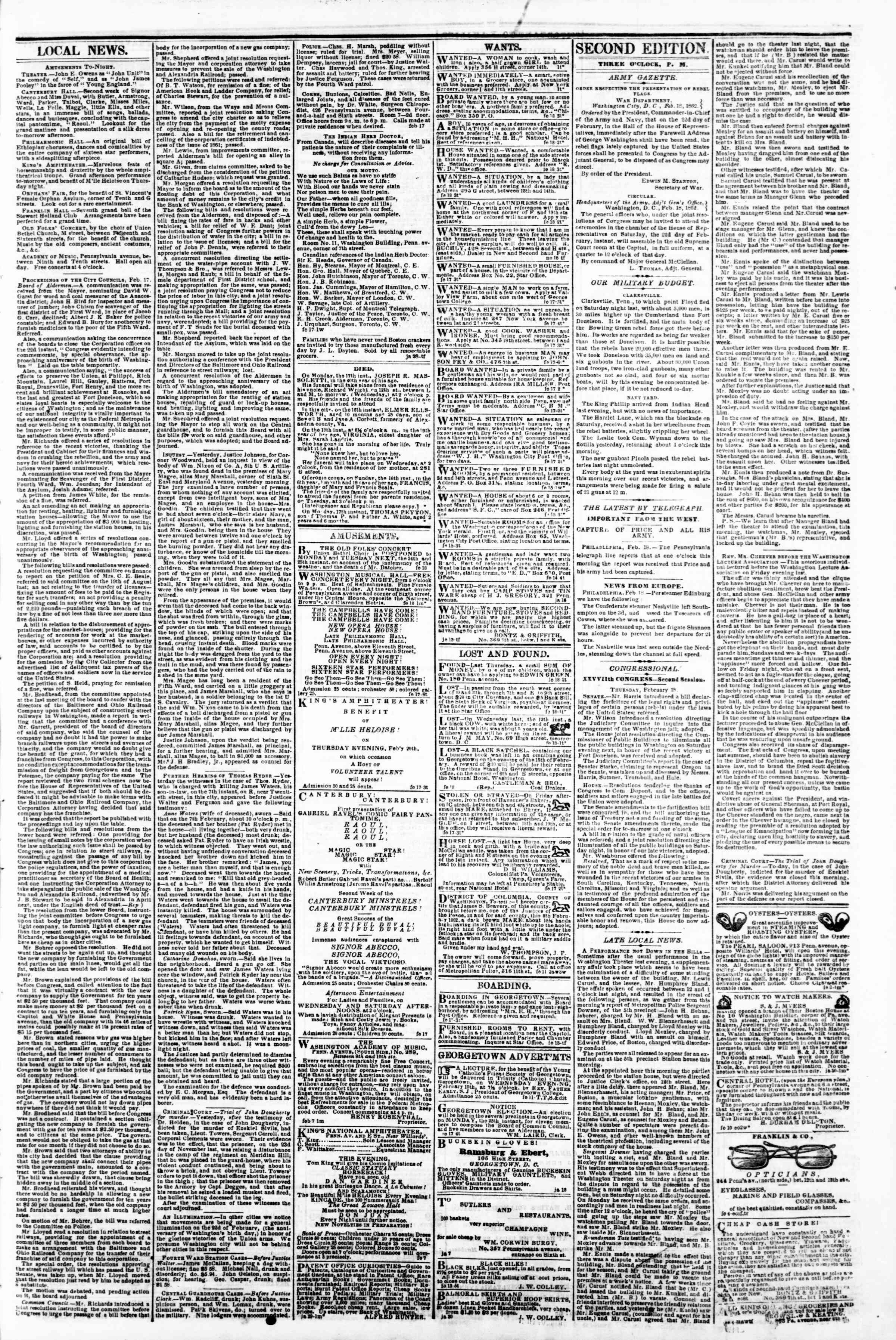 Newspaper of Evening Star dated February 18, 1862 Page 3