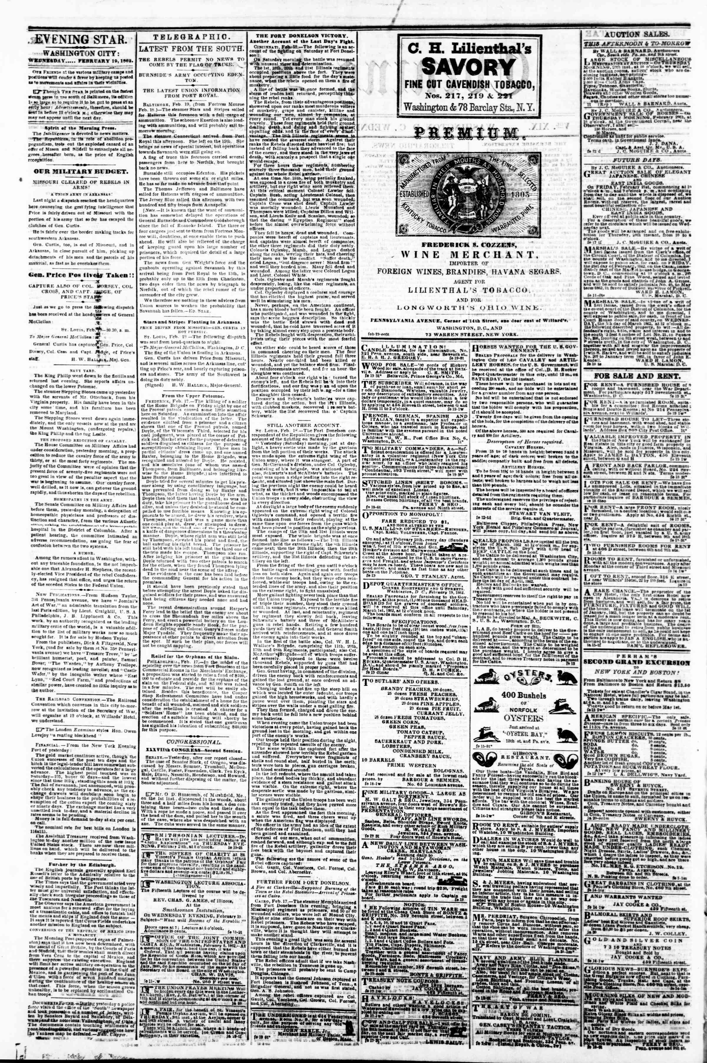 Newspaper of Evening Star dated February 19, 1862 Page 2