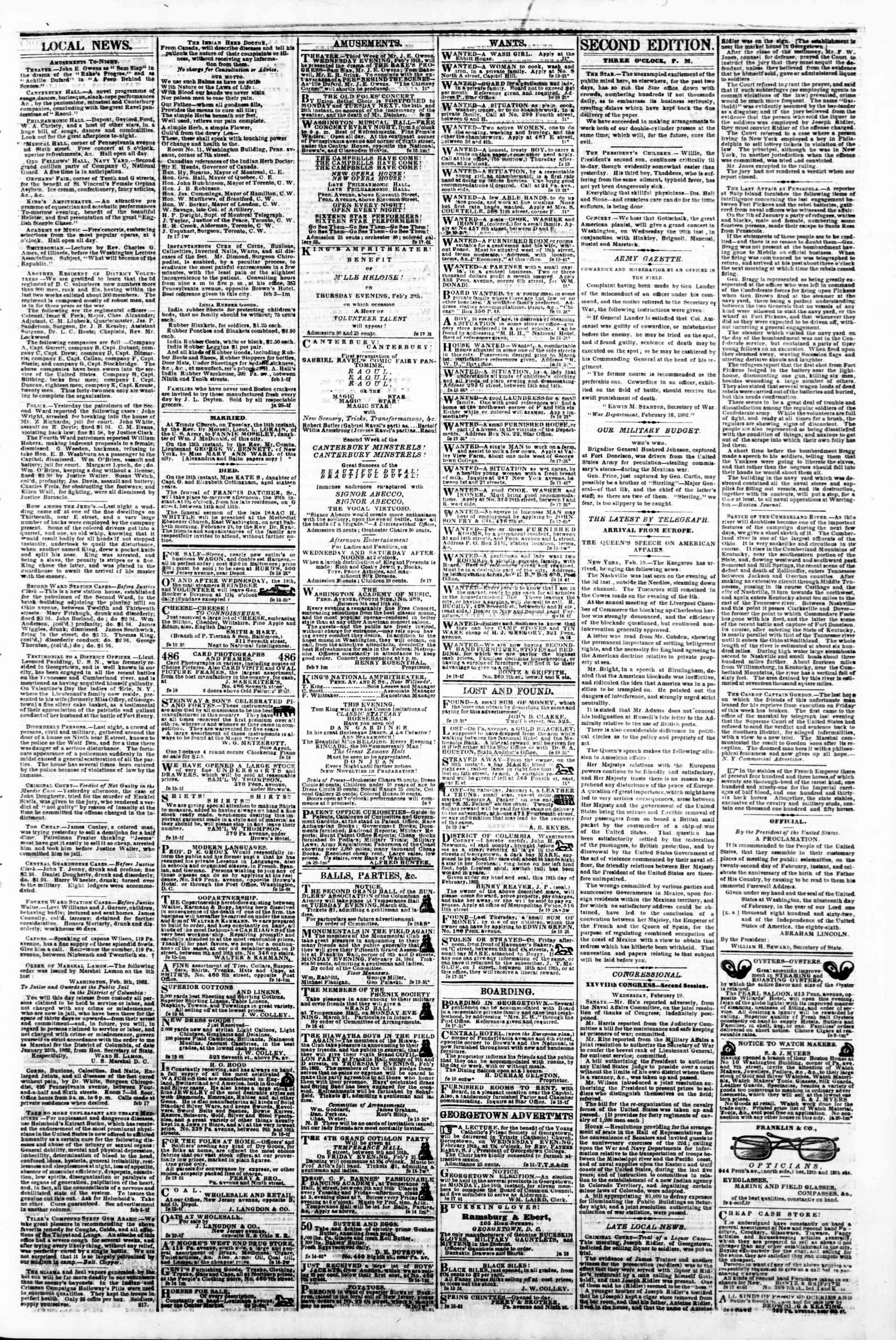 Newspaper of Evening Star dated February 19, 1862 Page 3