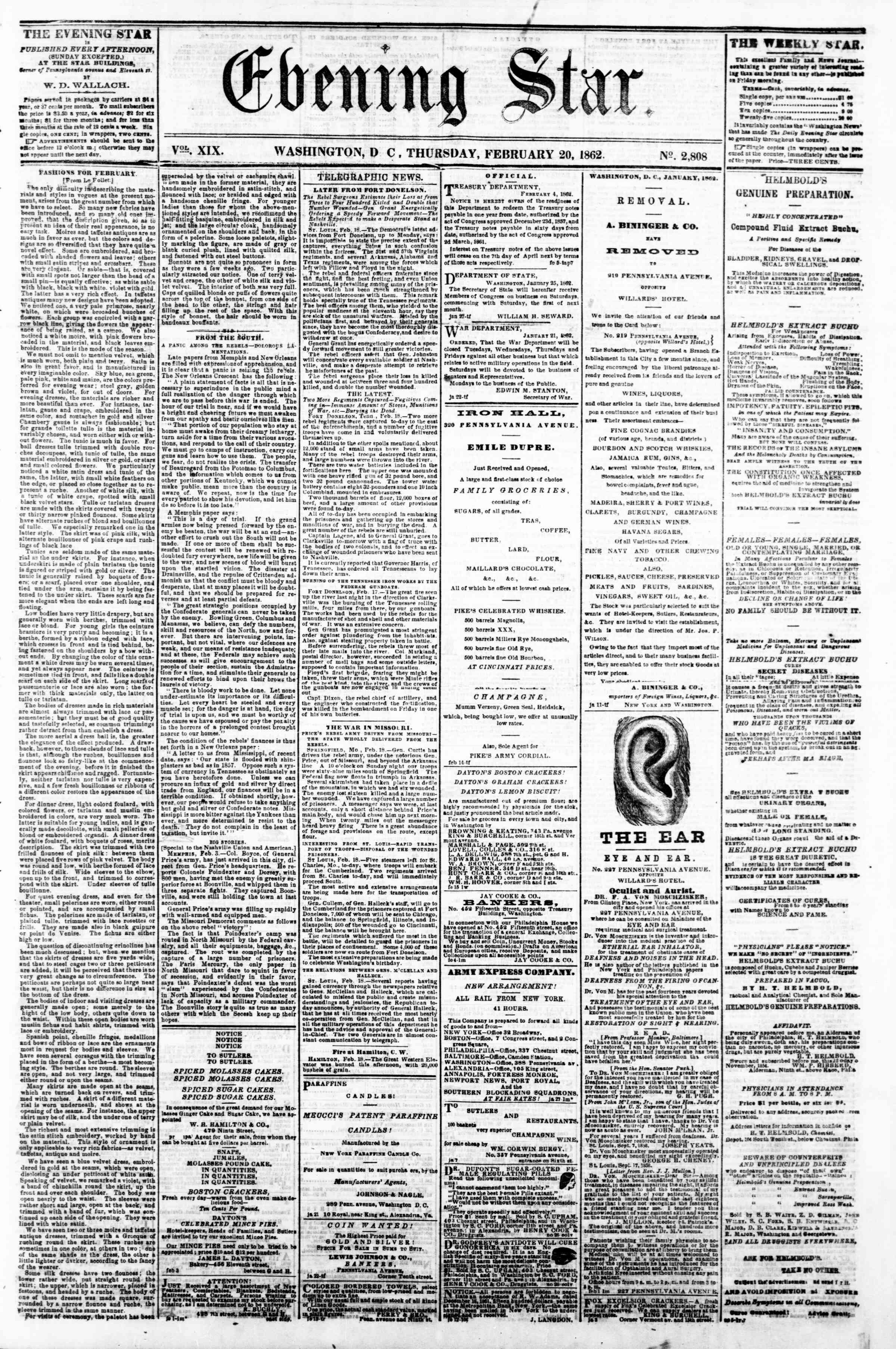 Newspaper of Evening Star dated February 20, 1862 Page 1