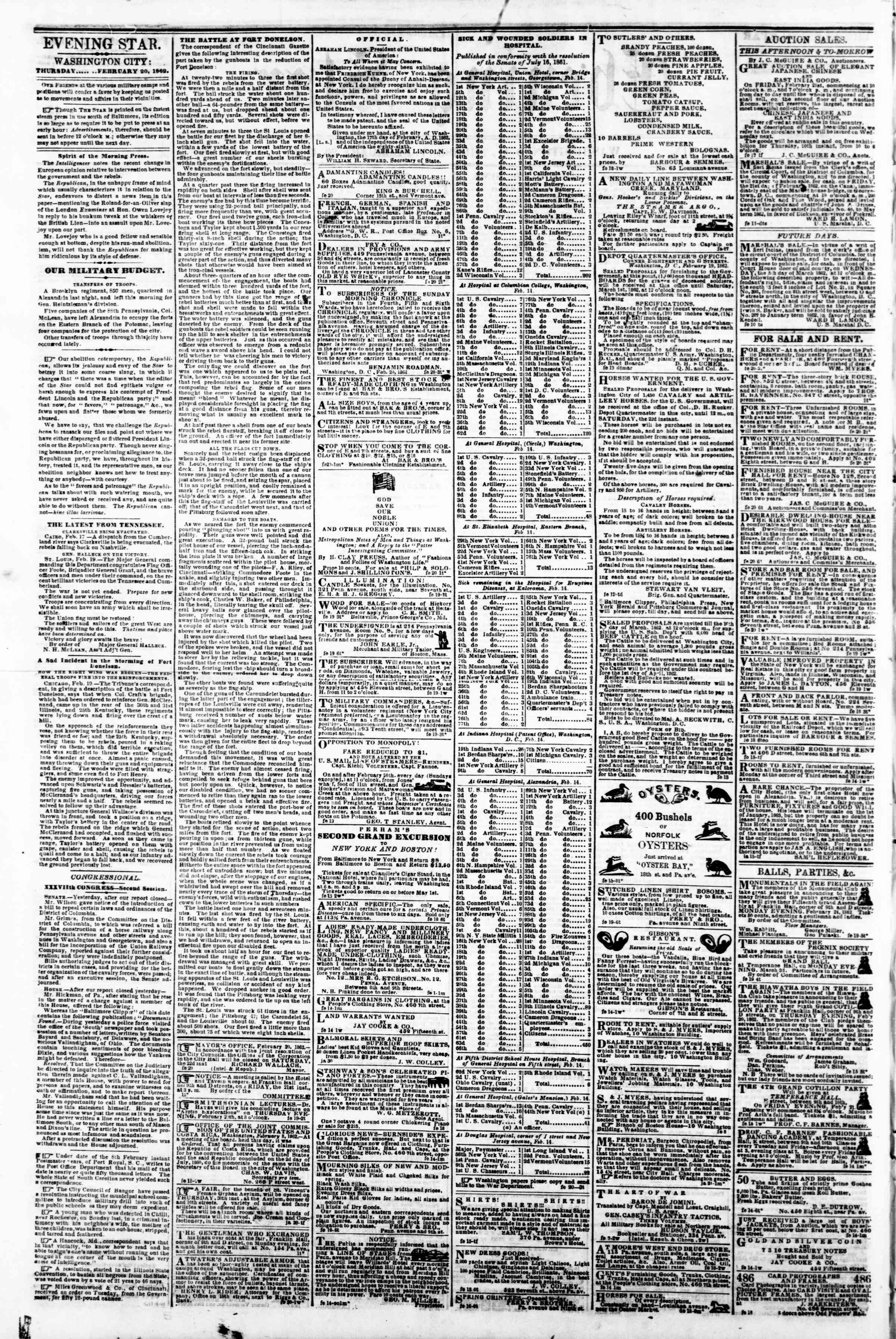 Newspaper of Evening Star dated February 20, 1862 Page 2