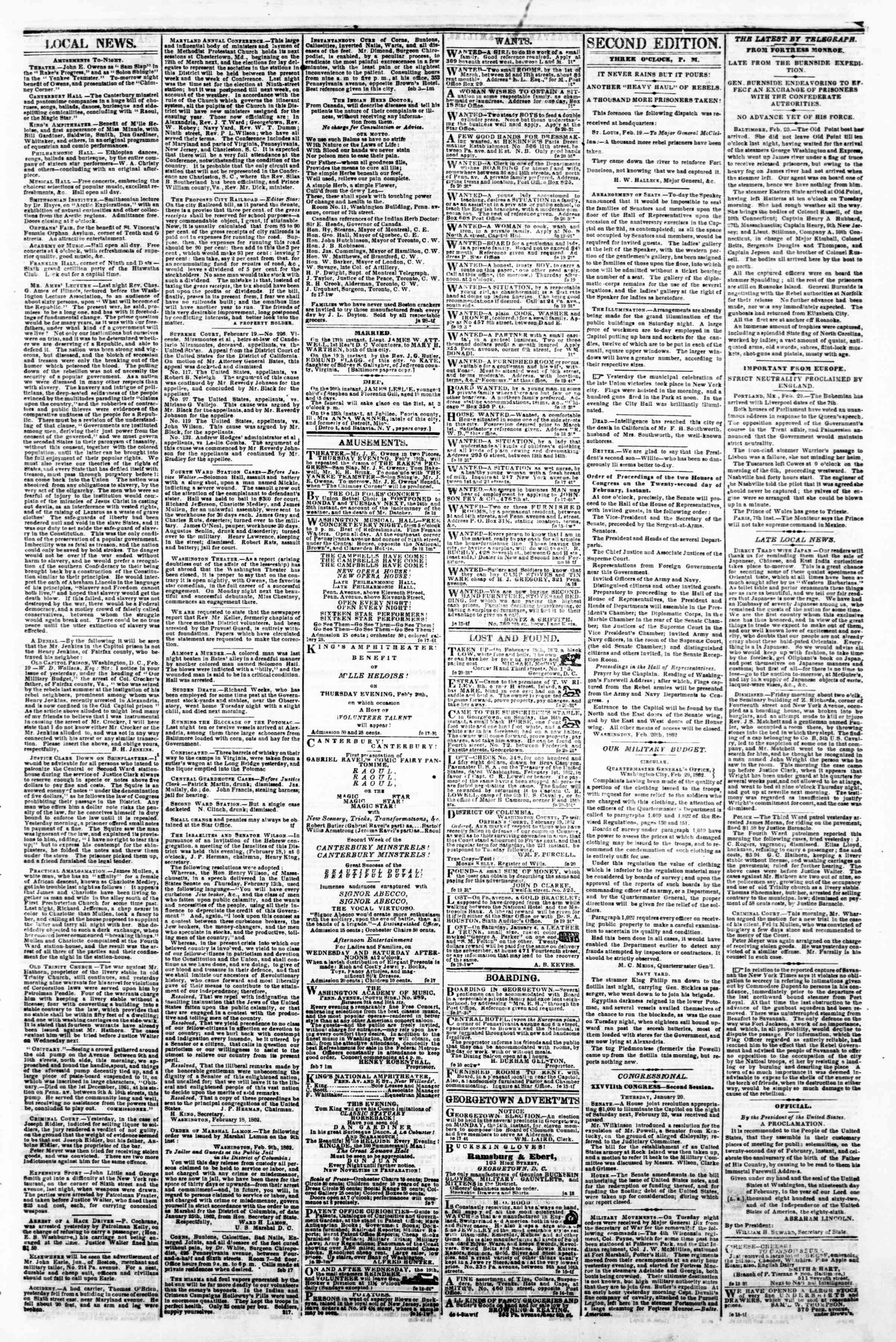 Newspaper of Evening Star dated February 20, 1862 Page 3