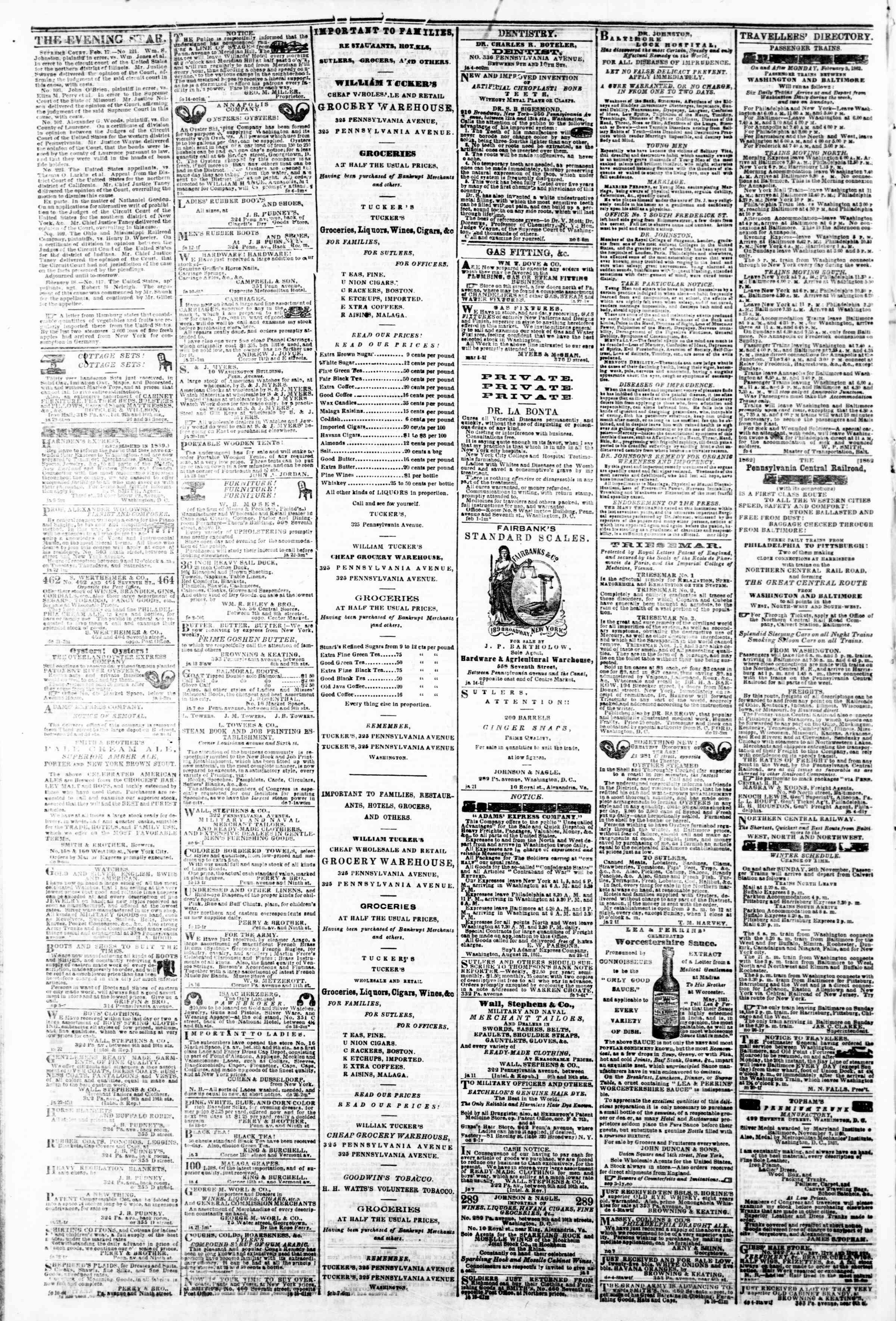 Newspaper of Evening Star dated February 20, 1862 Page 4