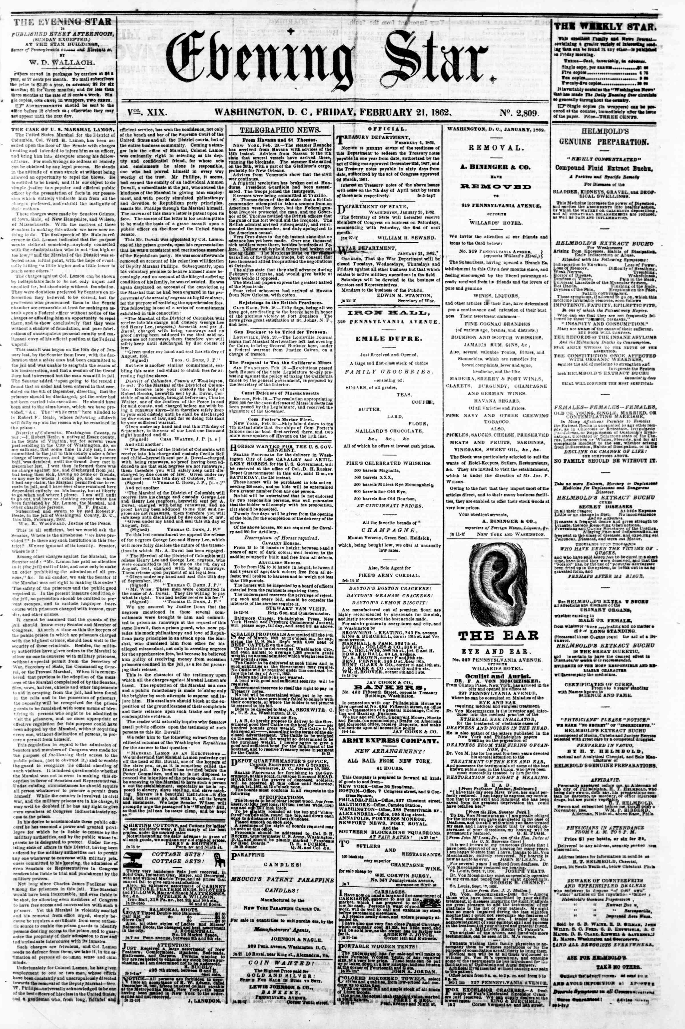 Newspaper of Evening Star dated February 21, 1862 Page 1
