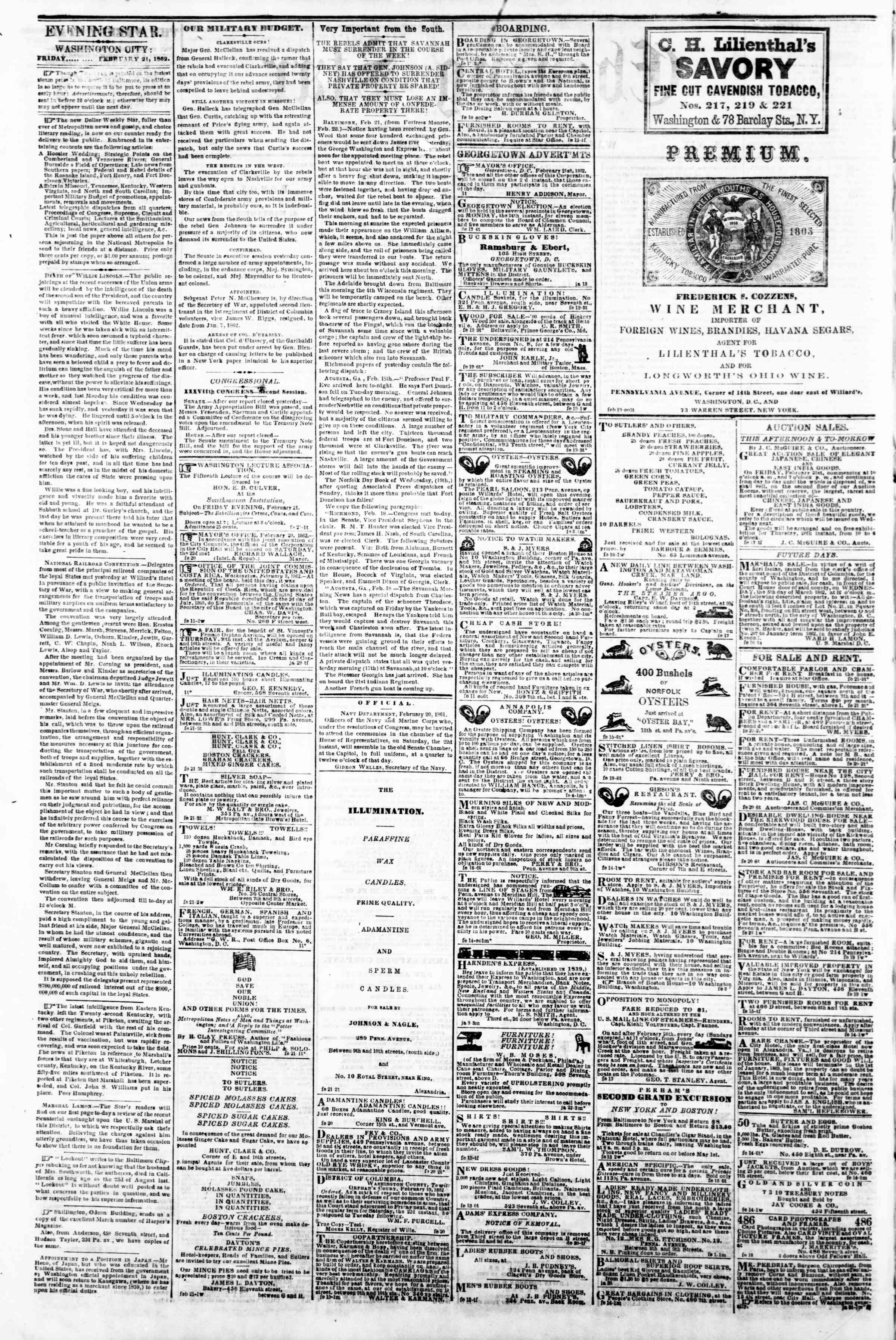 Newspaper of Evening Star dated February 21, 1862 Page 2