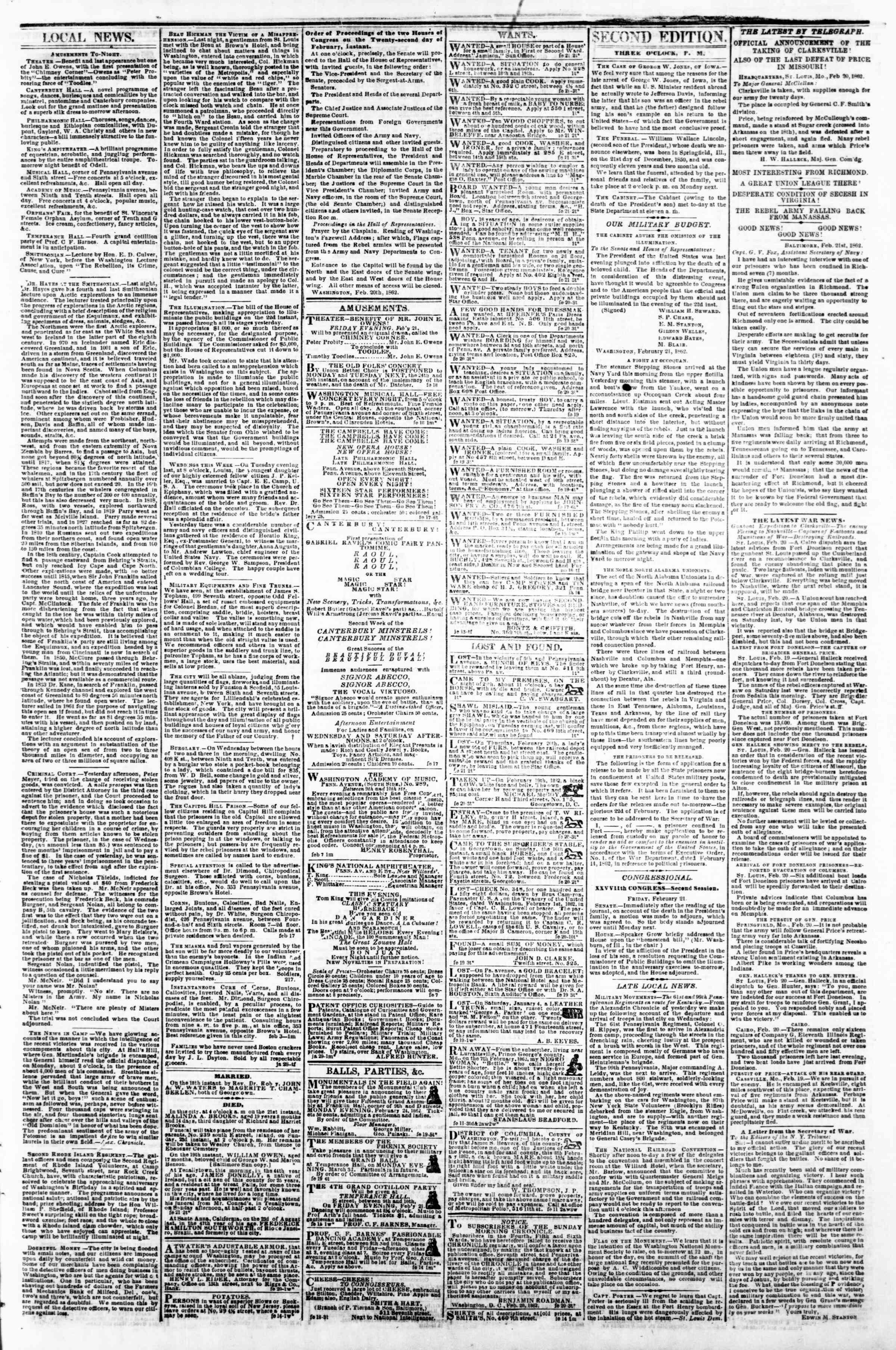 21 Şubat 1862 tarihli Evening Star Gazetesi Sayfa 3