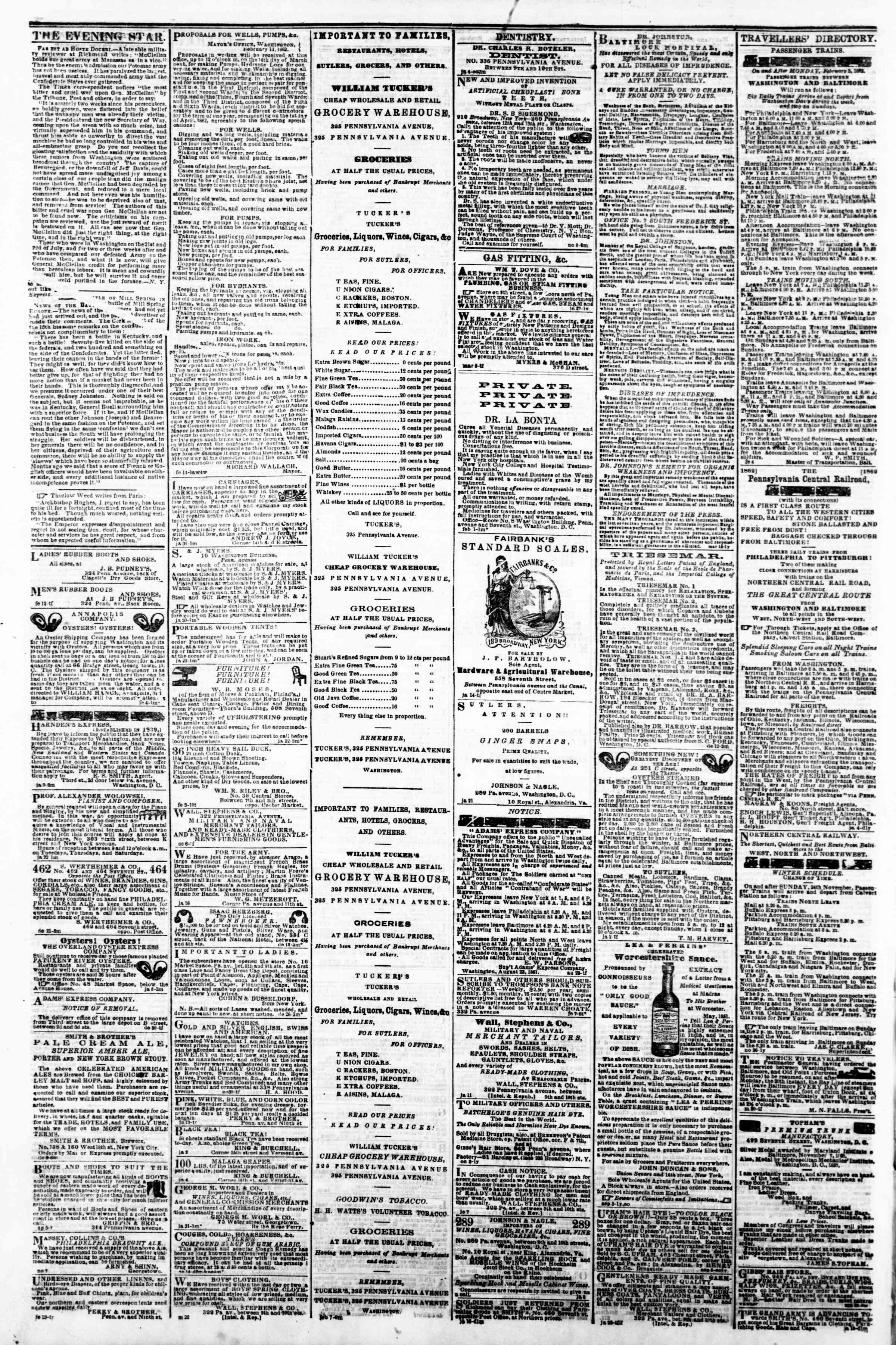 21 Şubat 1862 tarihli Evening Star Gazetesi Sayfa 4