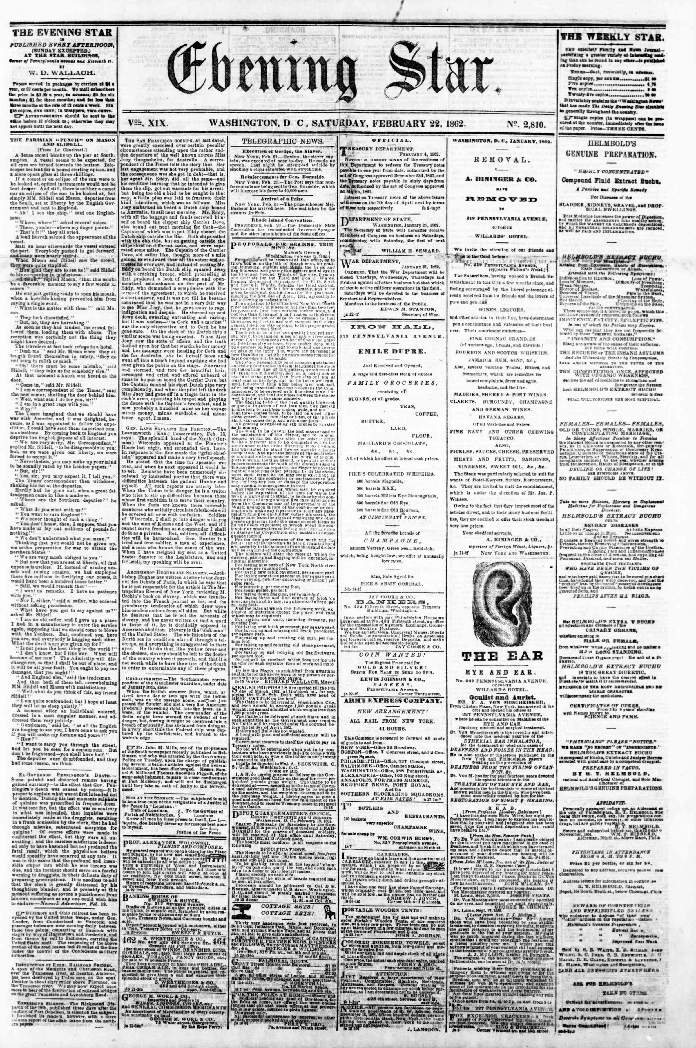 Newspaper of Evening Star dated February 22, 1862 Page 1