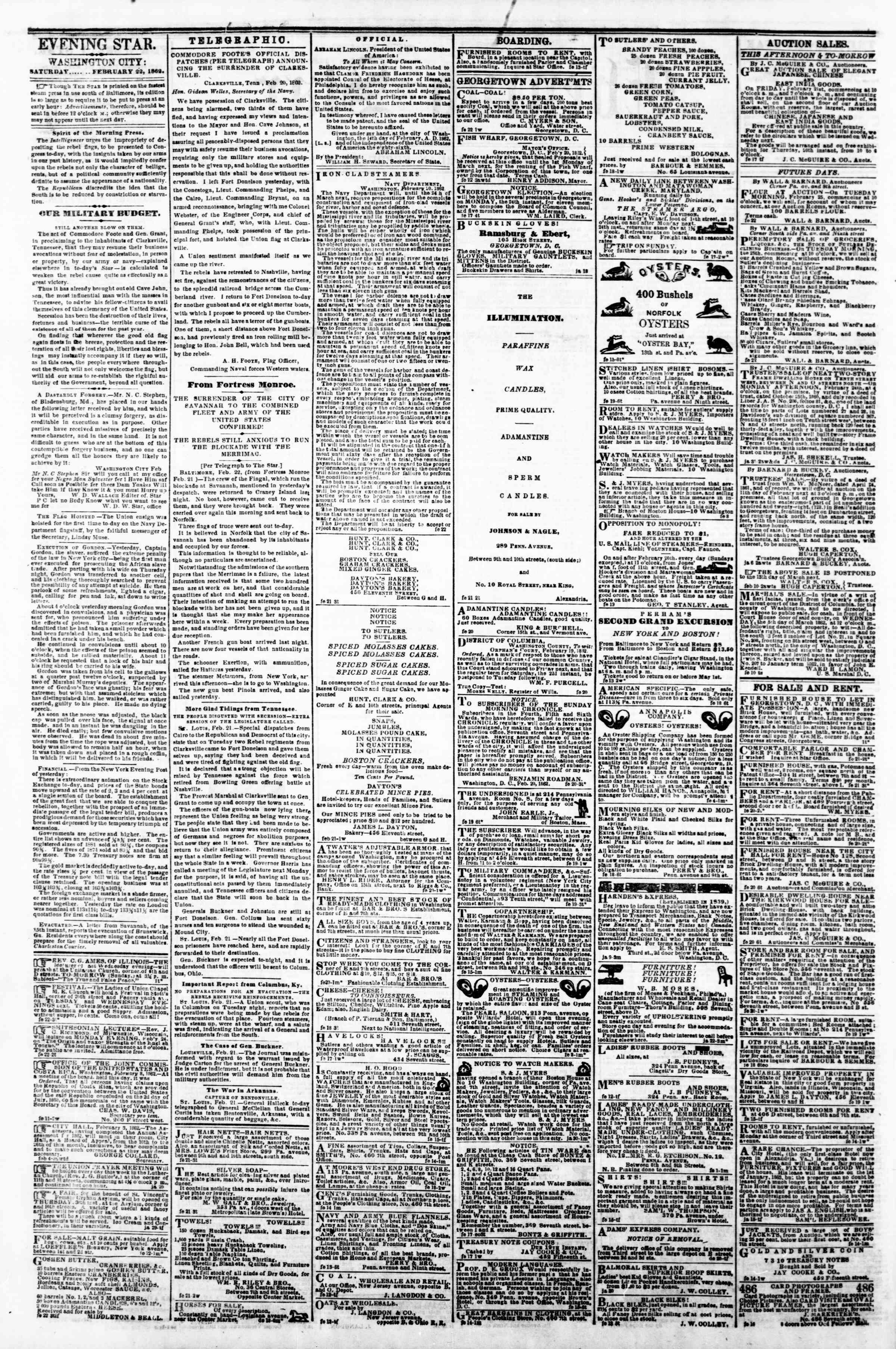 Newspaper of Evening Star dated February 22, 1862 Page 2