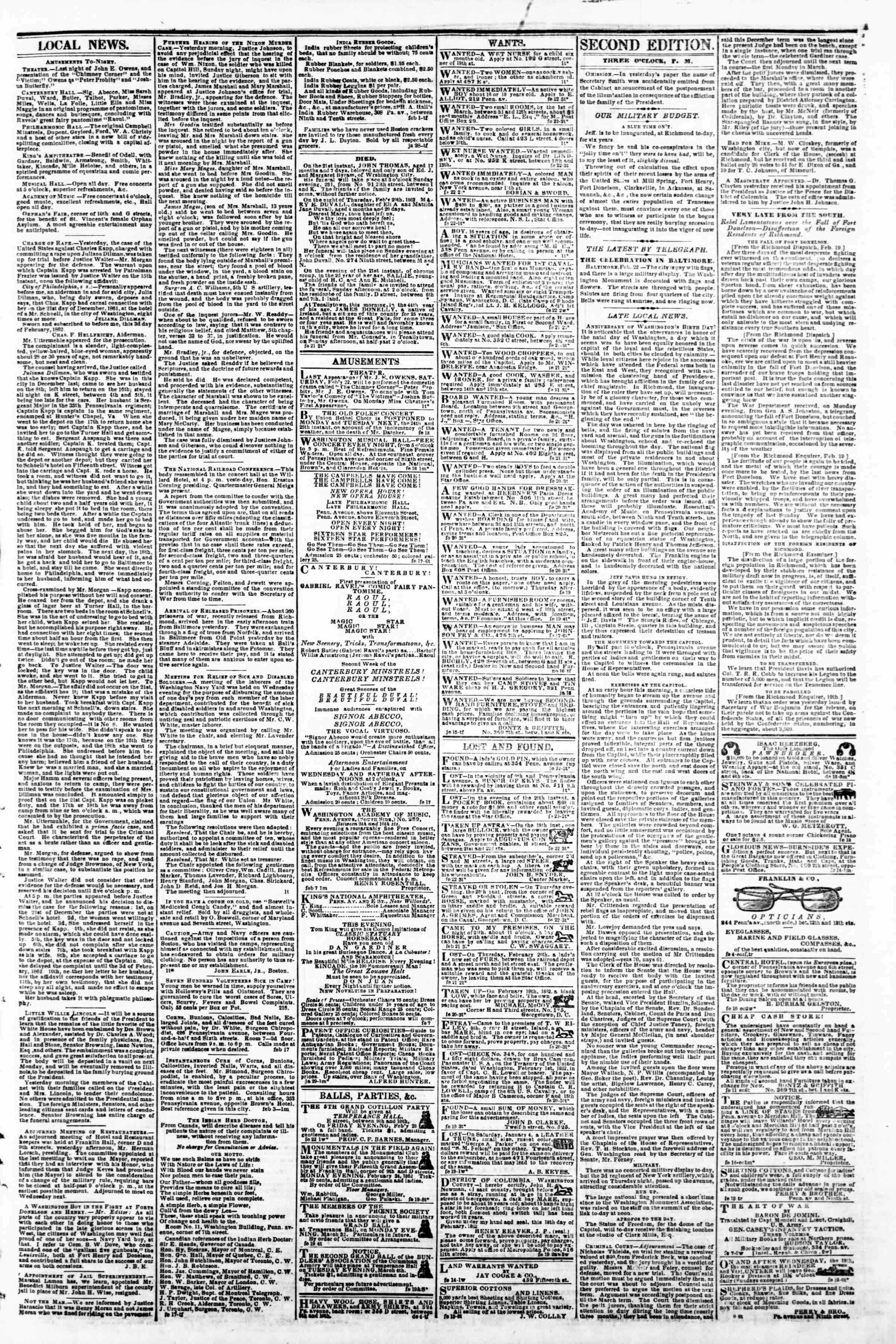 Newspaper of Evening Star dated February 22, 1862 Page 3